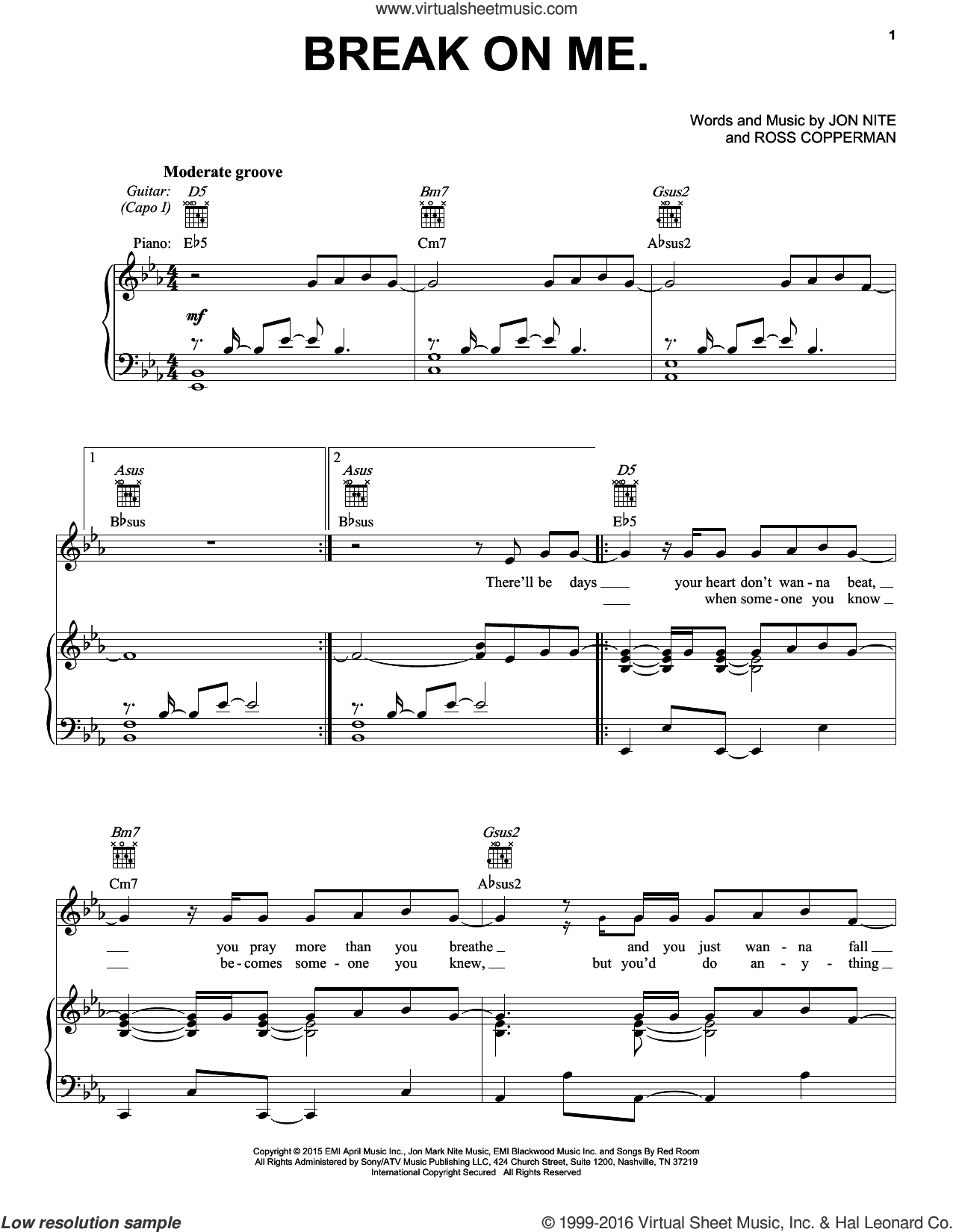 Break On Me sheet music for voice, piano or guitar by Keith Urban, Jon Nite and Ross Copperman, intermediate skill level