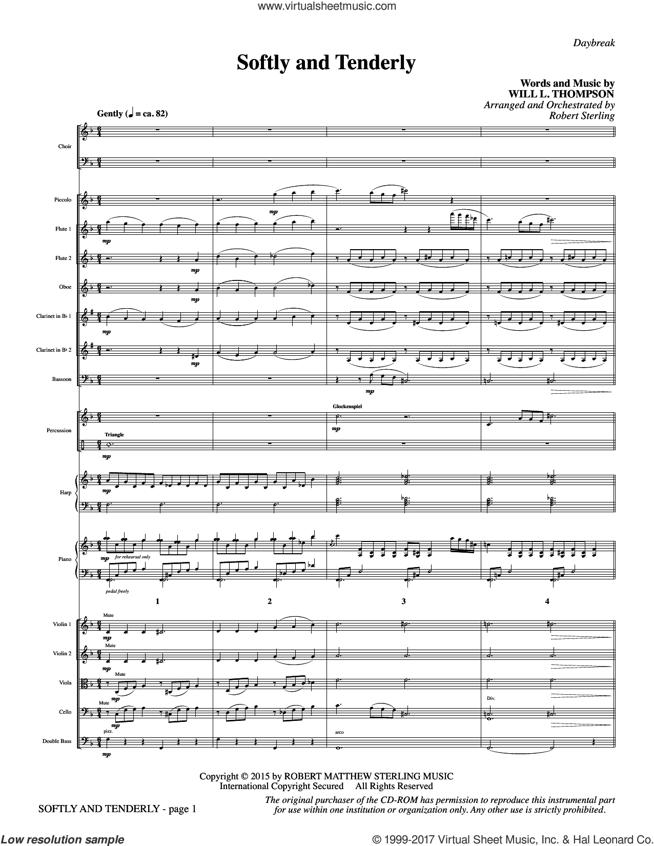 Softly and Tenderly (COMPLETE) sheet music for orchestra/band by Robert Sterling and Will L. Thompson, intermediate skill level