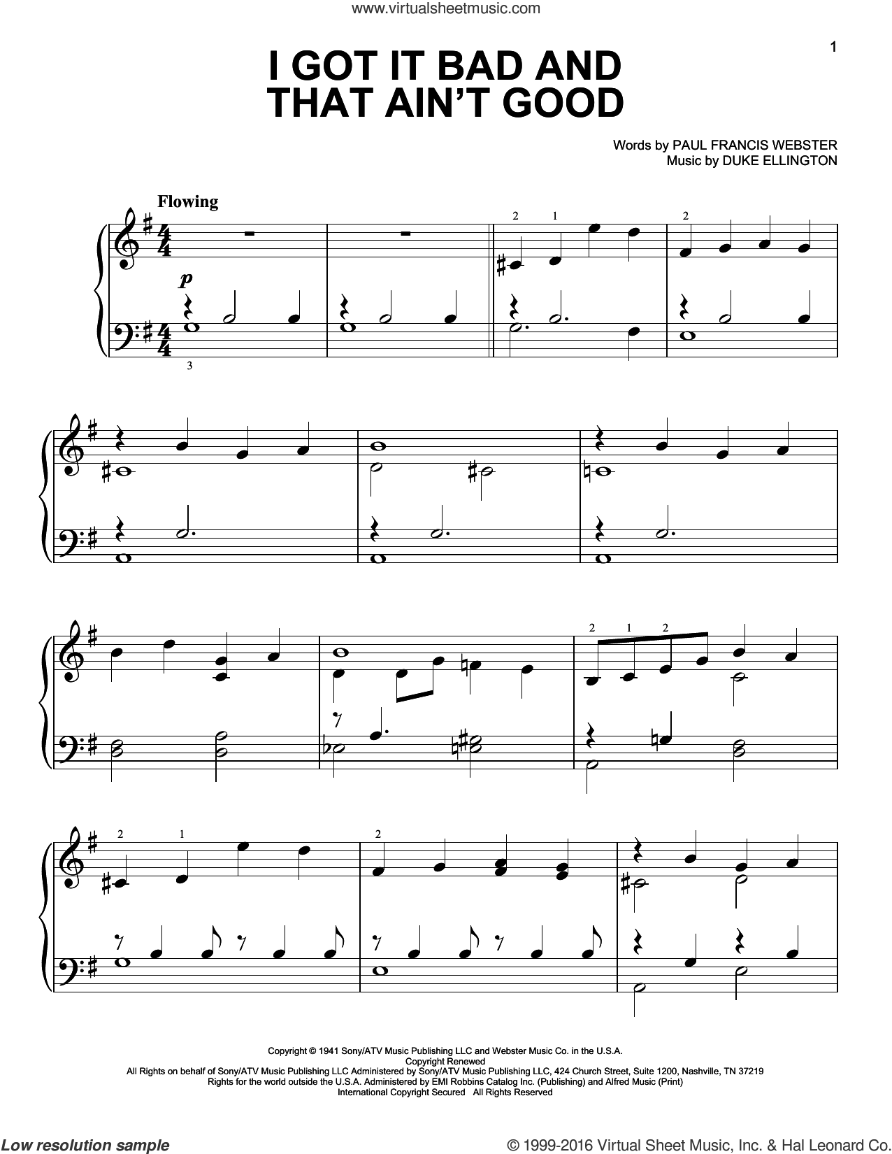 I Got It Bad And That Ain't Good sheet music for piano solo by Paul Francis Webster and Duke Ellington, easy skill level