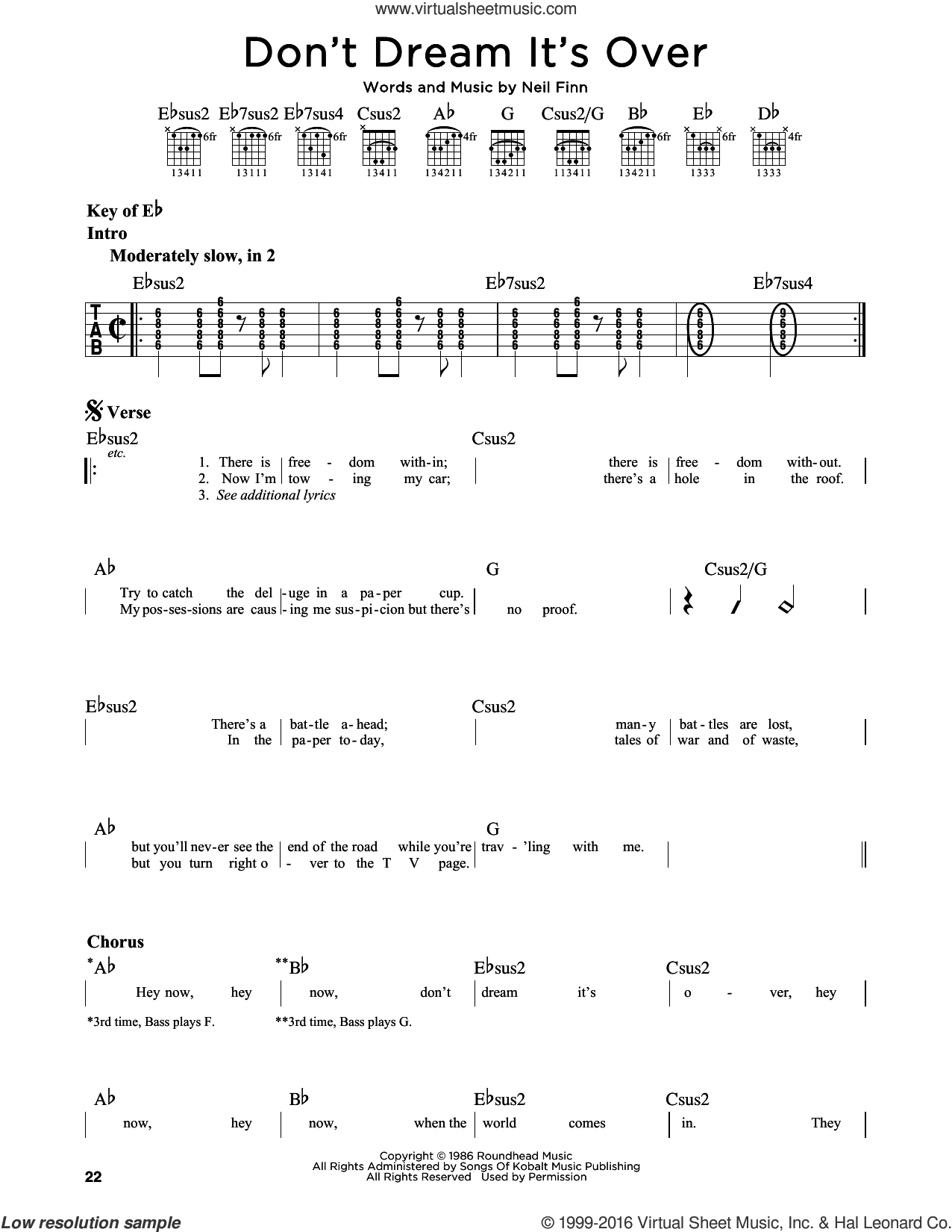 Don't Dream It's Over sheet music for guitar solo (lead sheet) by Crowded House, Donny Osmond and Neil Finn. Score Image Preview.