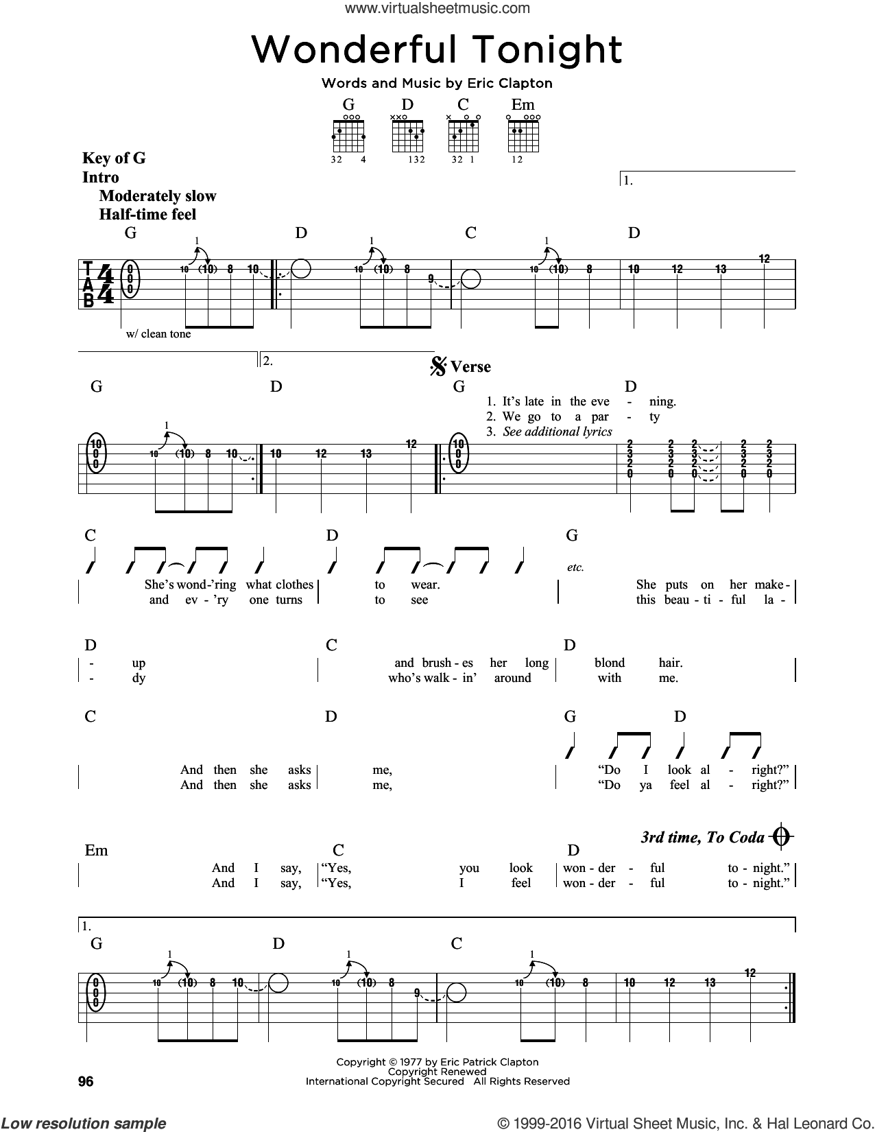 Wonderful Tonight sheet music for guitar solo (lead sheet) by Eric Clapton and David Kersh. Score Image Preview.