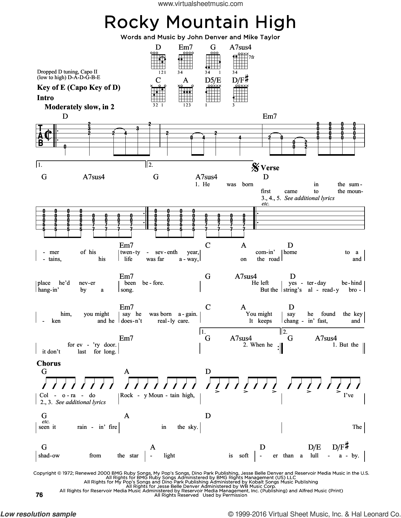 Rocky Mountain High sheet music for guitar solo (lead sheet) by Mike Taylor and John Denver. Score Image Preview.