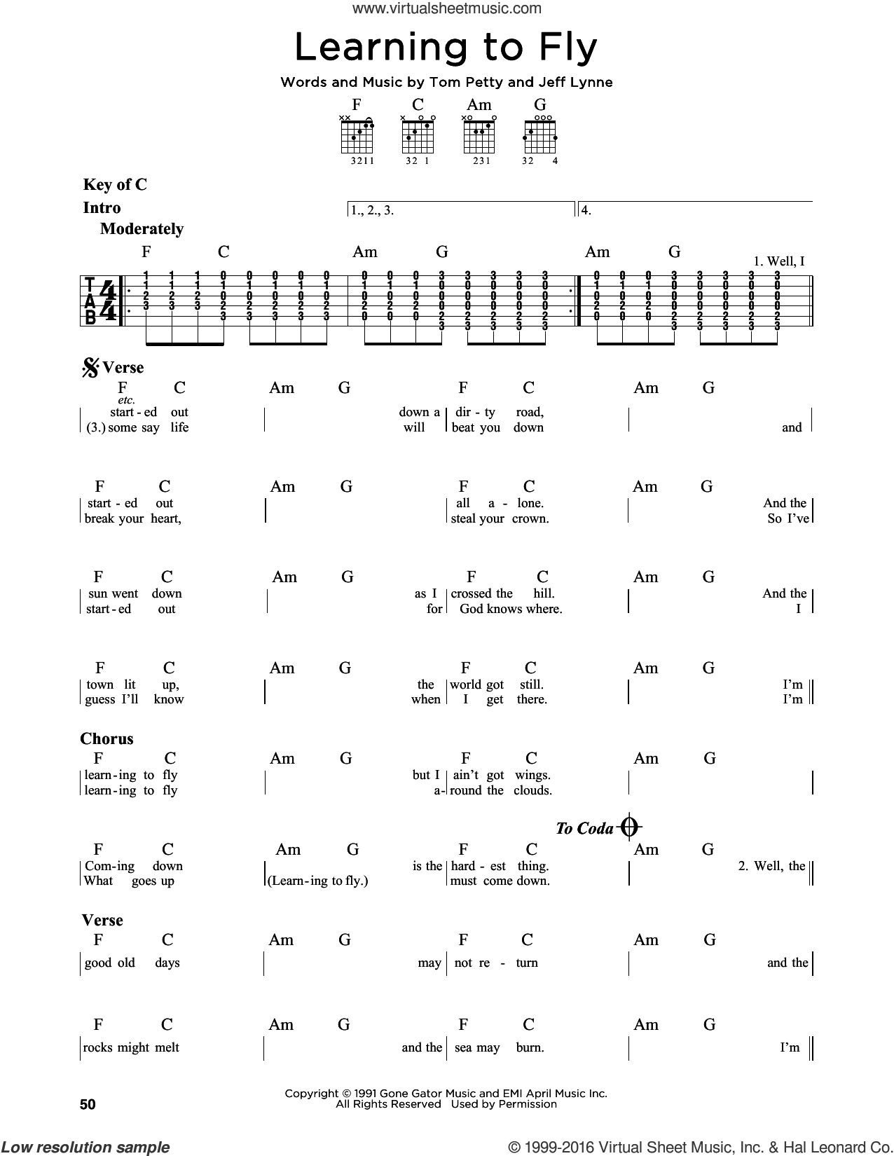 Learning To Fly sheet music for guitar solo (lead sheet) by Tom Petty and Jeff Lynne, intermediate guitar (lead sheet)