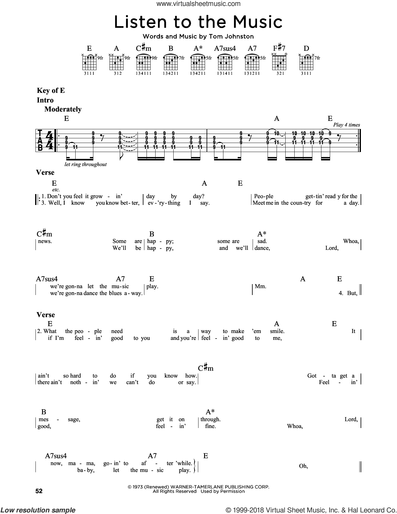 Listen To The Music sheet music for guitar solo (lead sheet) by The Doobie Brothers and Tom Johnston, intermediate guitar (lead sheet)