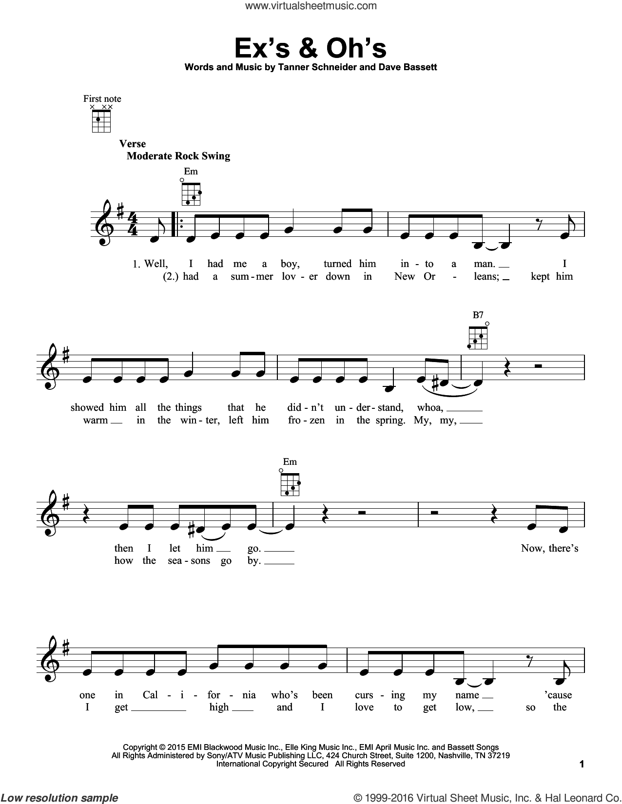 Ex's and Oh's sheet music for ukulele by Elle King, Dave Bassett and Tanner Schneider, intermediate skill level