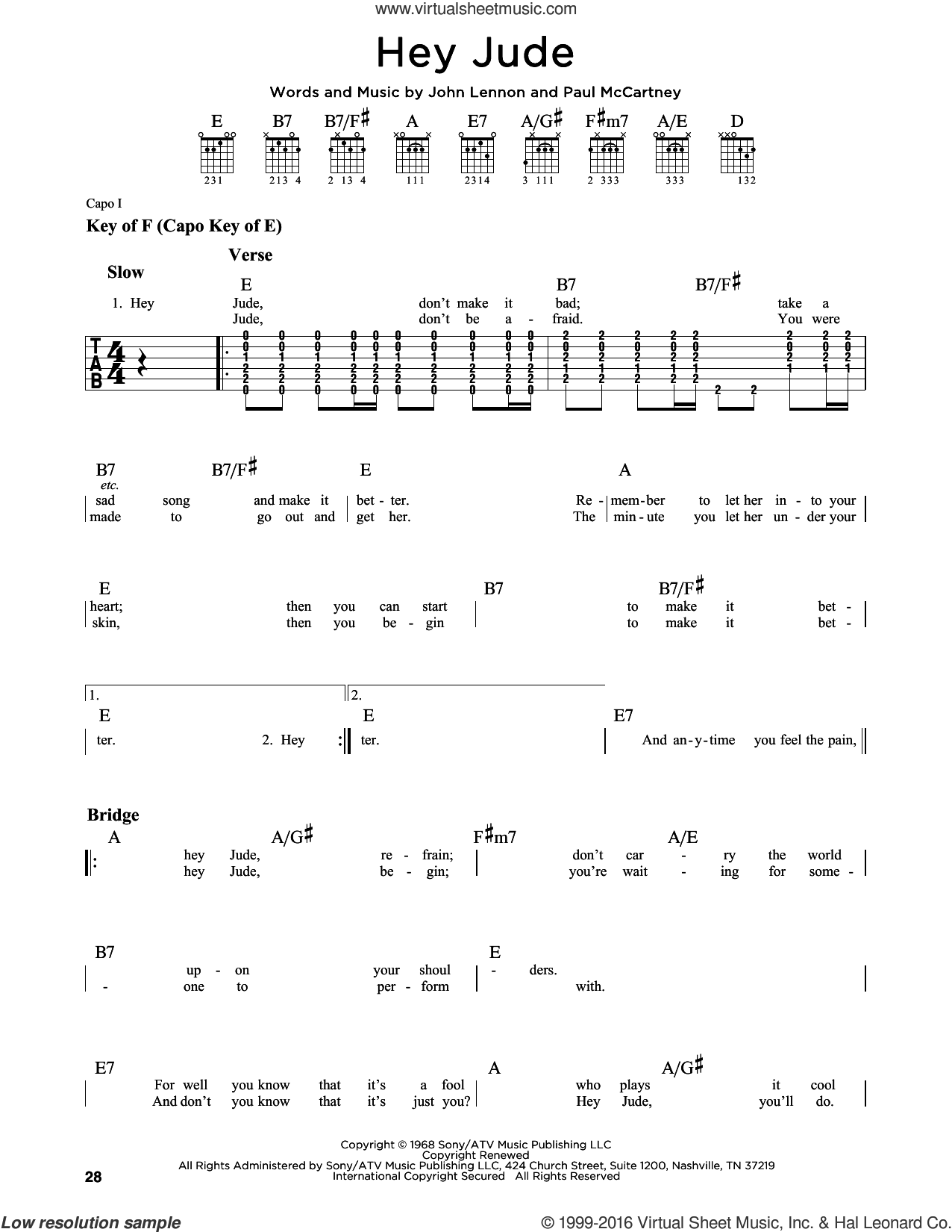 Hey Jude sheet music for guitar solo (lead sheet) by Paul McCartney, The Beatles and John Lennon. Score Image Preview.
