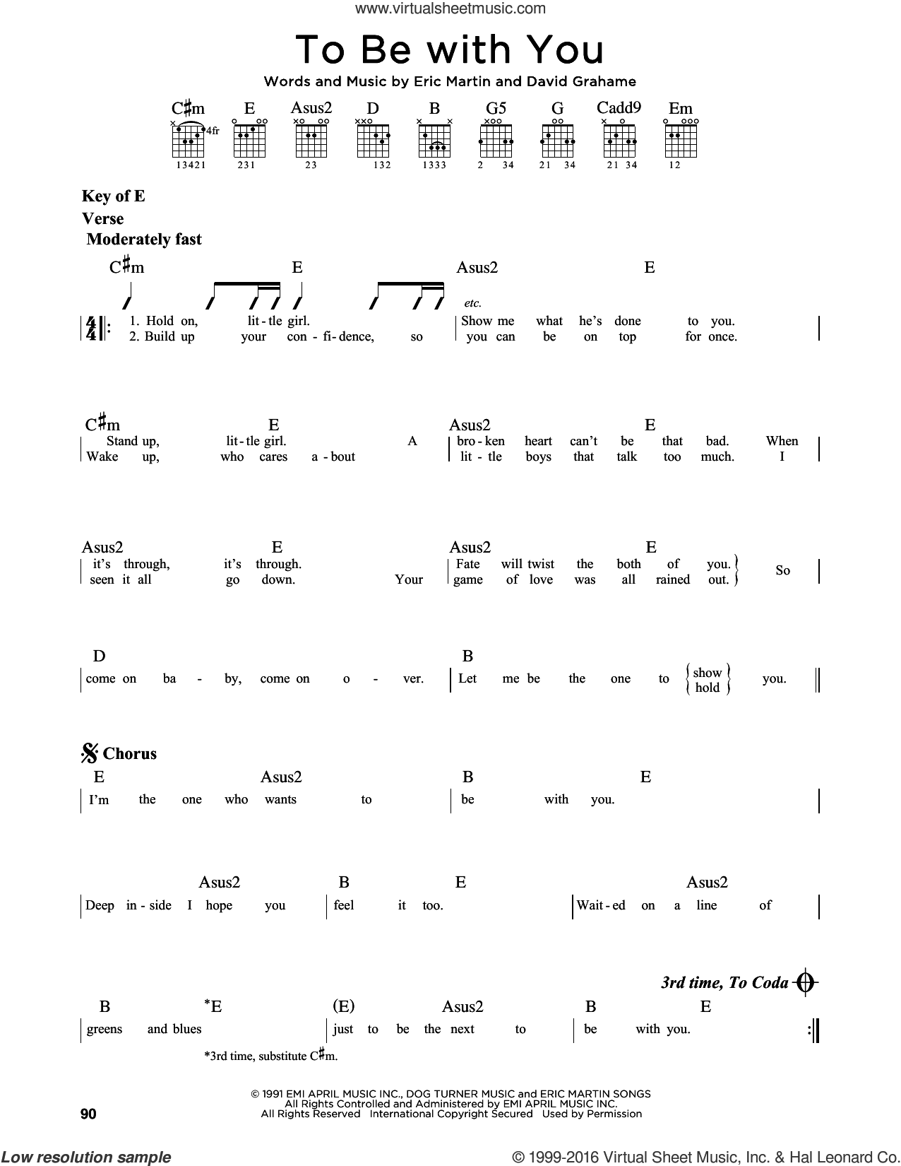 To Be With You sheet music for guitar solo (lead sheet) by Mr. Big, David Grahame and Eric Martin, intermediate guitar (lead sheet)
