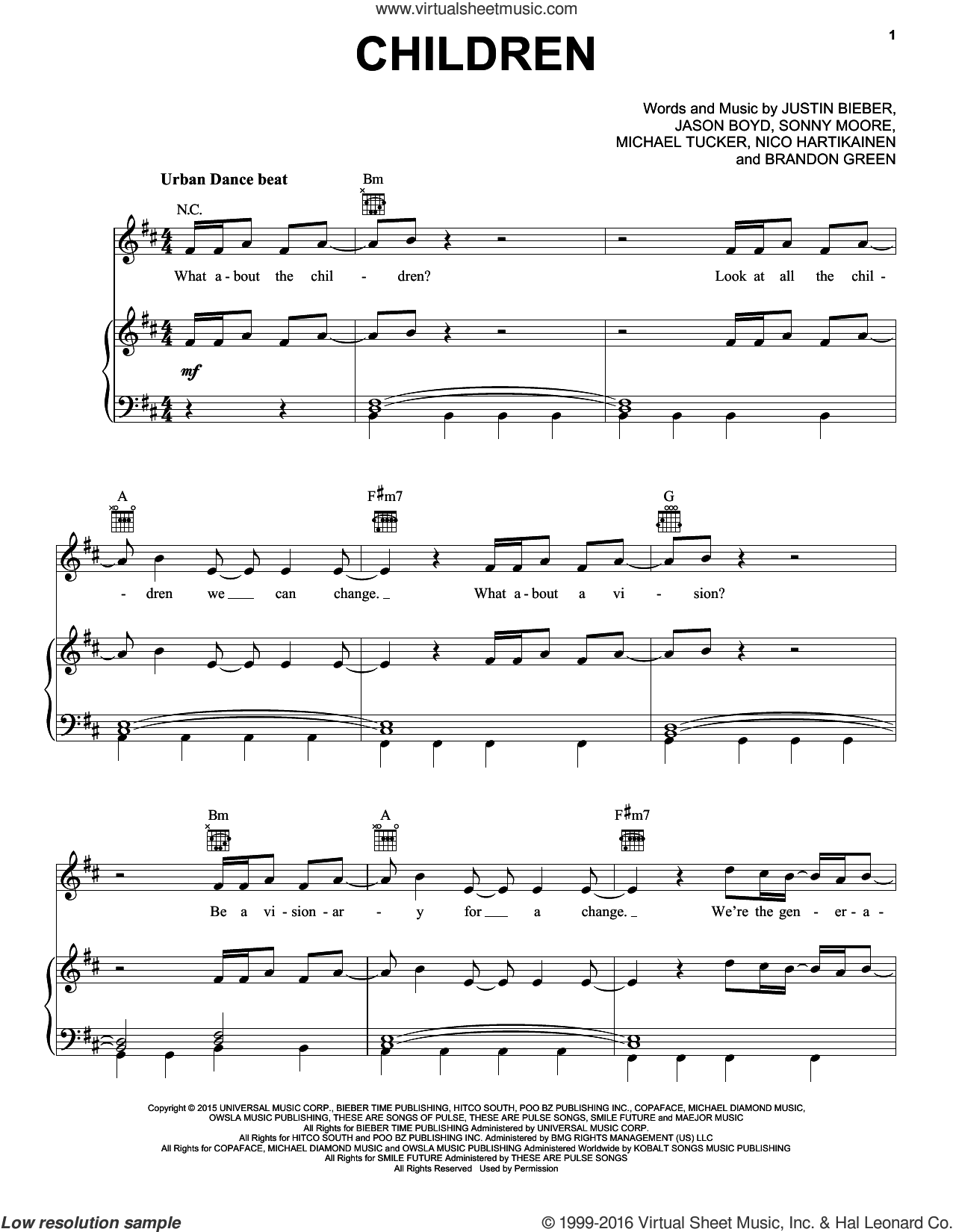 Children sheet music for voice, piano or guitar by Justin Bieber, Brandon Green, Jason Boyd, Michael Tucker, Nico Hartikainen and Sonny Moore, intermediate skill level