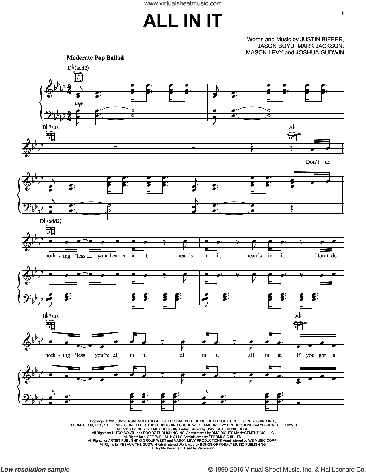 All In It sheet music for voice, piano or guitar by Justin Bieber, Jason Boyd, Joshua Gudwin, Mark Jackson and Mason Levy, intermediate