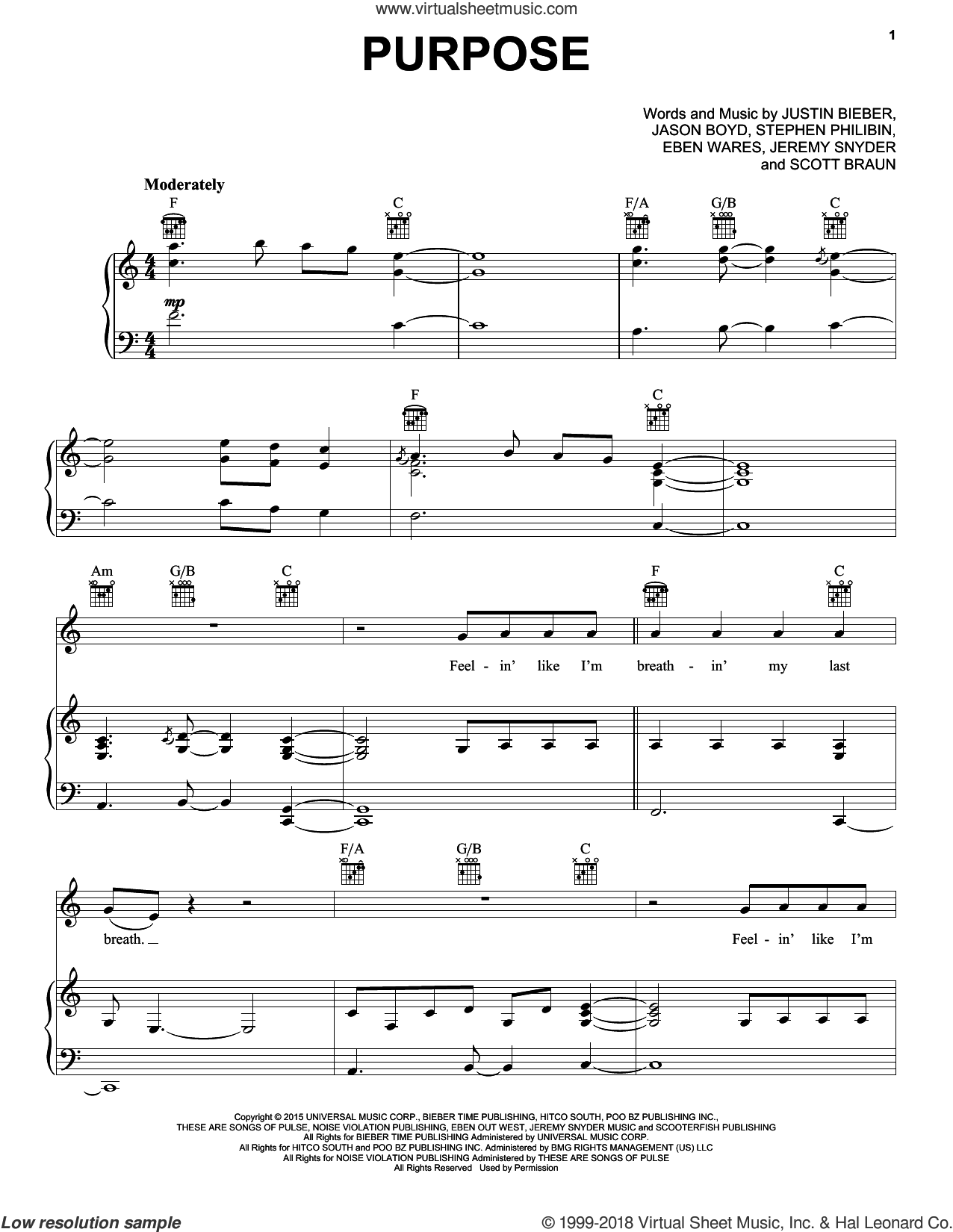 Purpose sheet music for voice, piano or guitar by Justin Bieber, Eben Wares, Jason Boyd, Jeremy Snyder, Scott Braun and Stephen Philibin, intermediate skill level
