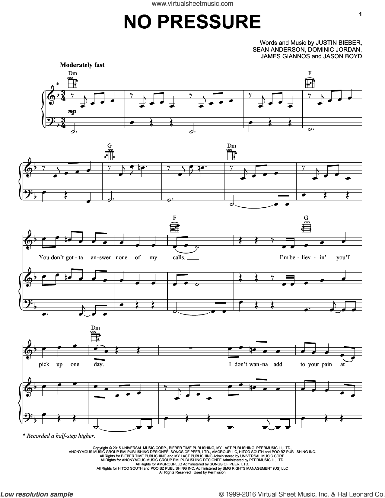 No Pressure sheet music for voice, piano or guitar by Sean Anderson, Jason Boyd and Justin Bieber. Score Image Preview.