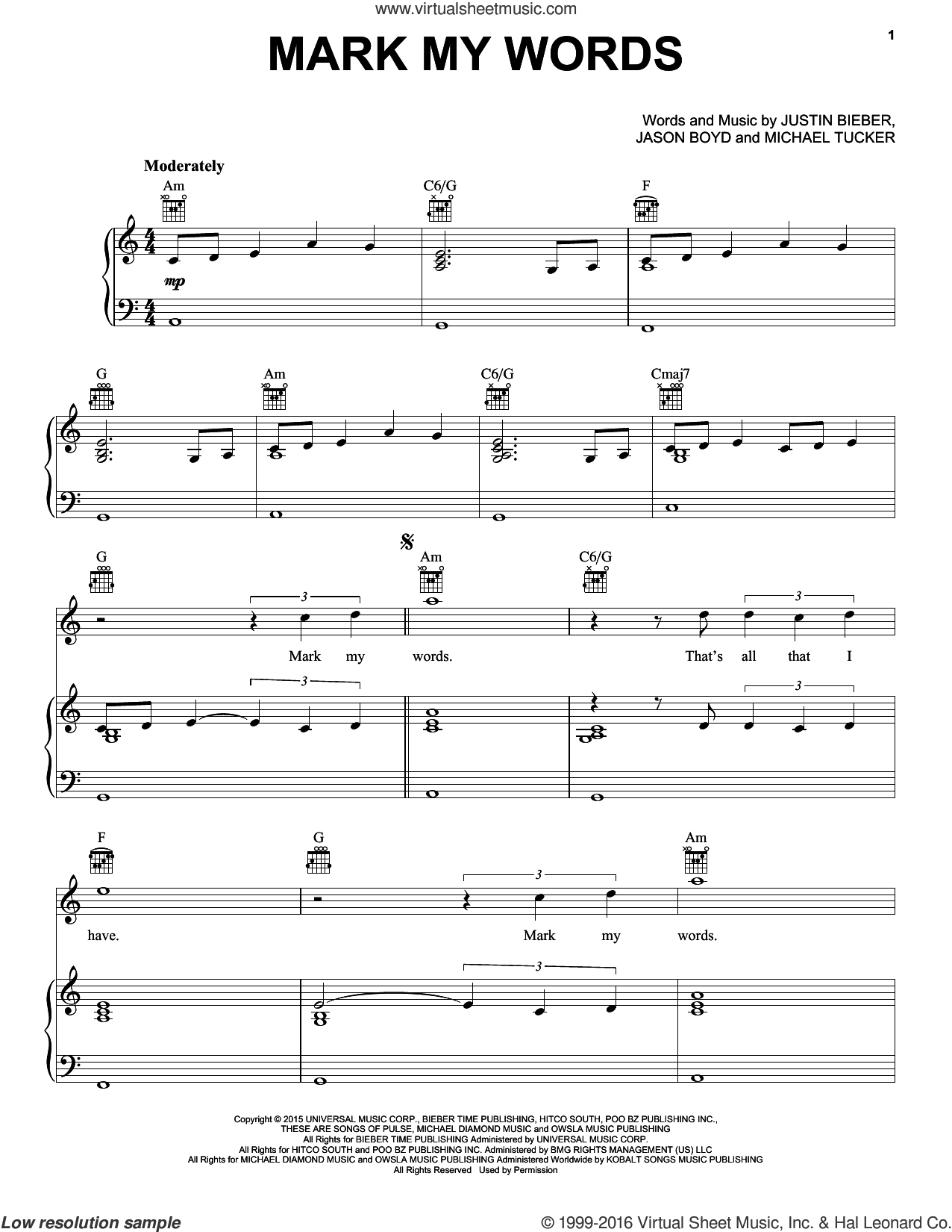 Mark My Words sheet music for voice, piano or guitar by Justin Bieber and Michael Tucker, intermediate. Score Image Preview.
