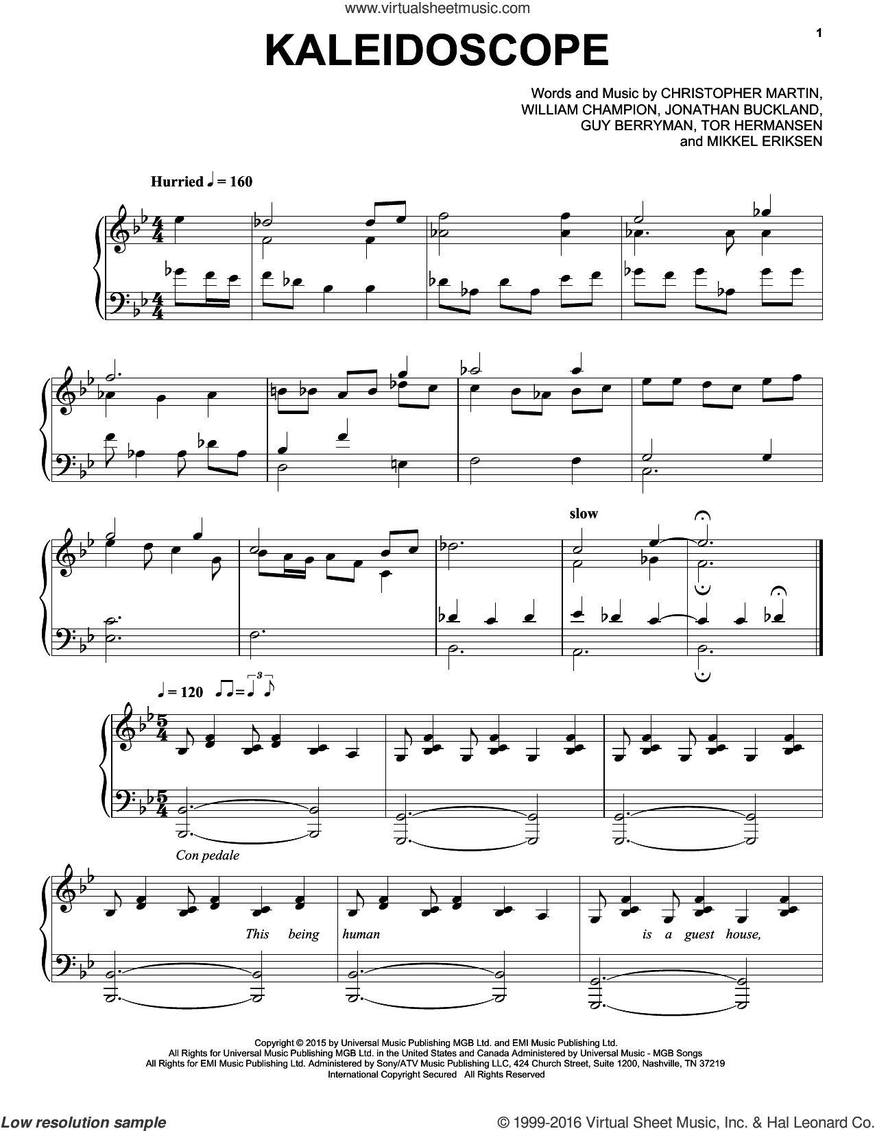 Kaleidoscope sheet music for piano solo by Coldplay, Christopher Martin, Guy Berryman, Jonathan Buckland, Mikkel Eriksen, Tor Erik Hermansen and William Champion, intermediate skill level