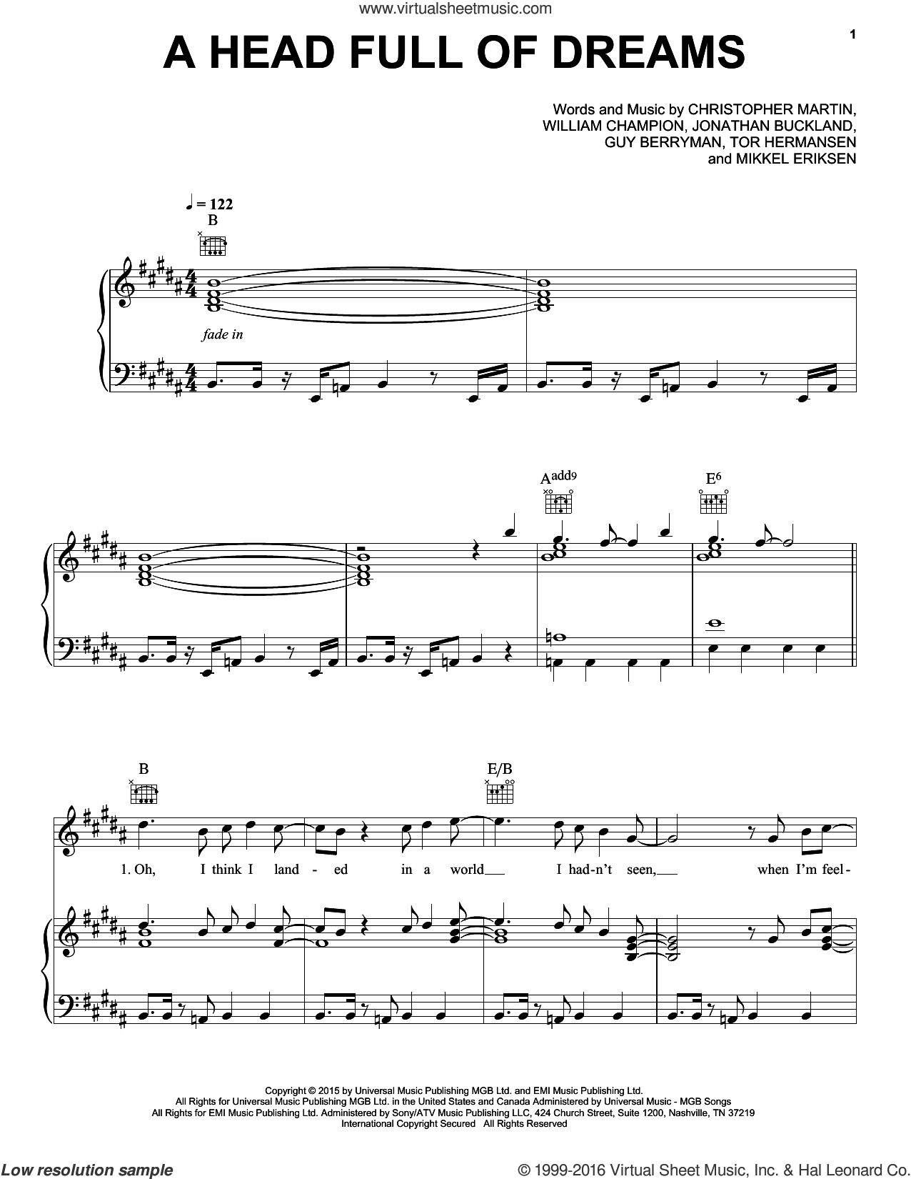 A Head Full Of Dreams sheet music for voice, piano or guitar by Guy Berryman, Coldplay, Christopher Martin, Jonathan Buckland, Mikkel Eriksen, Tor Erik Hermansen and William Champion, intermediate skill level
