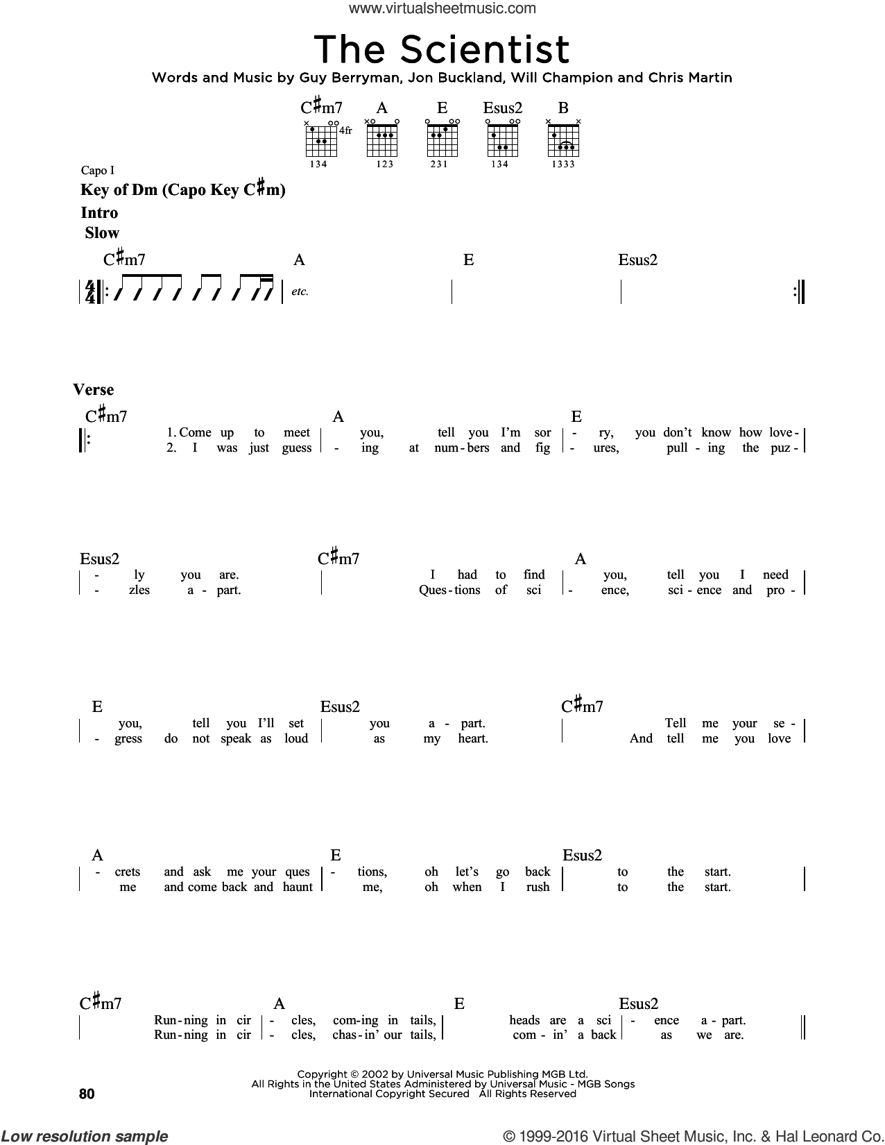 The Scientist sheet music for guitar solo (lead sheet) by Guy Berryman, Coldplay, Glee, Miscellaneous, Chris Martin, Jon Buckland and Will Champion, intermediate guitar (lead sheet)