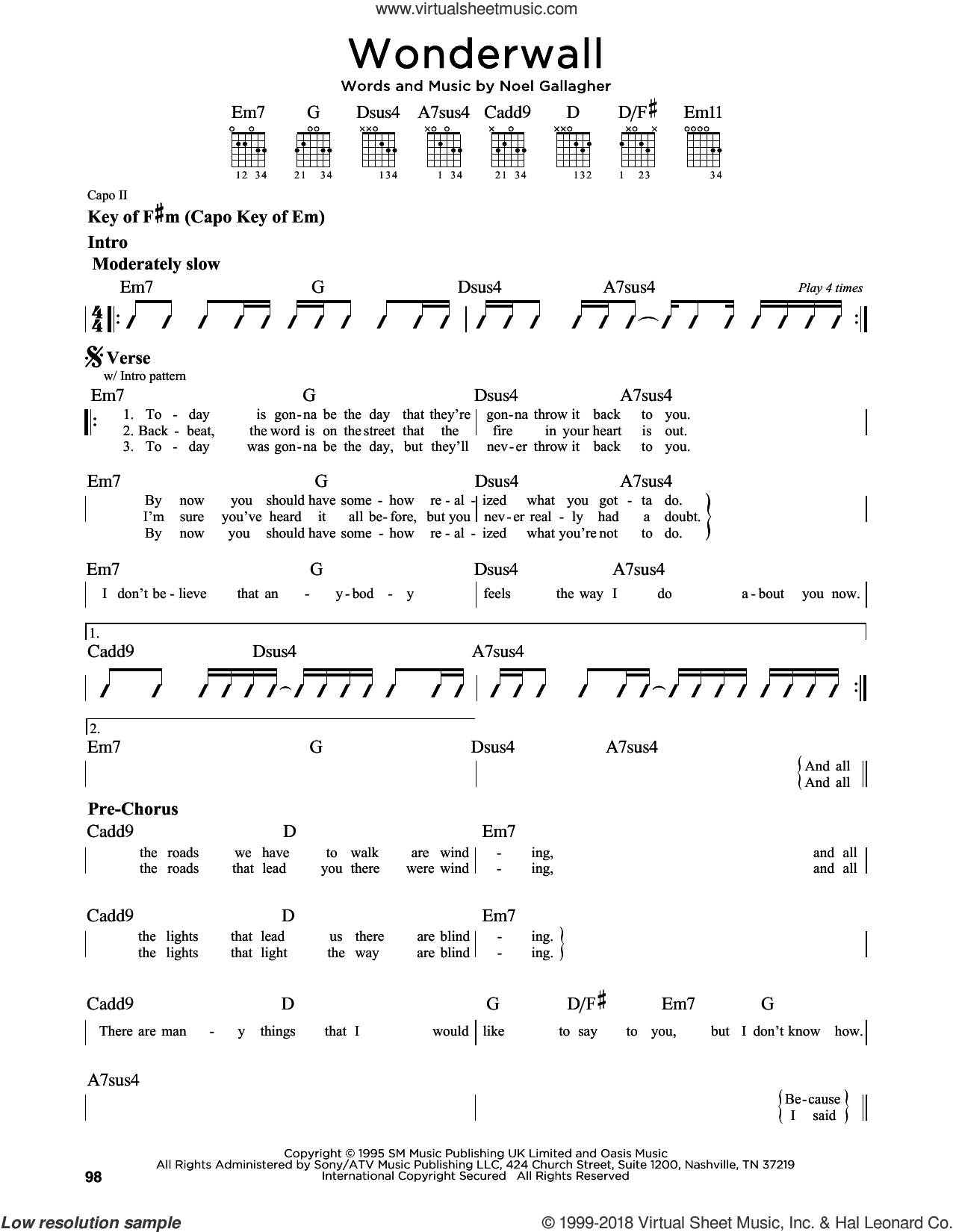 Wonderwall sheet music for guitar solo (lead sheet) by Oasis and Noel Gallagher, intermediate guitar (lead sheet). Score Image Preview.