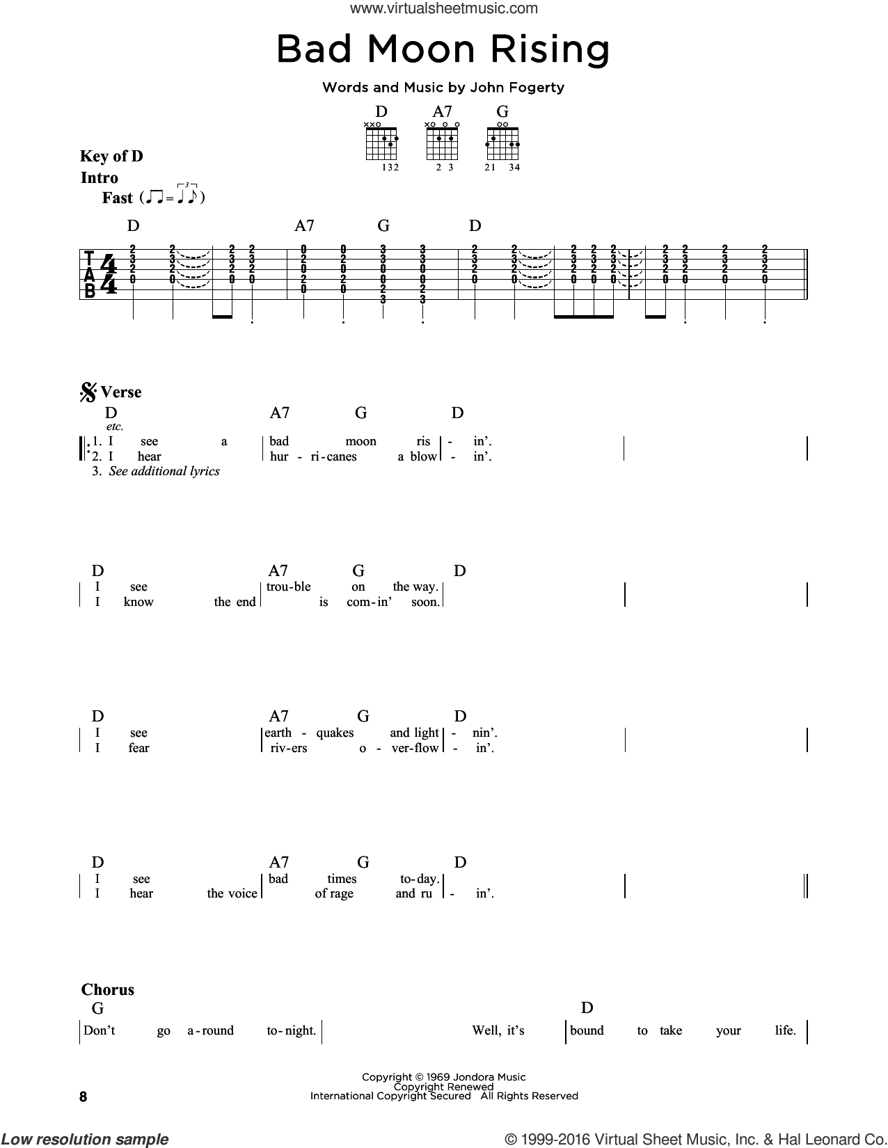 Bad Moon Rising sheet music for guitar solo (lead sheet) by Creedence Clearwater Revival and John Fogerty, intermediate guitar (lead sheet)
