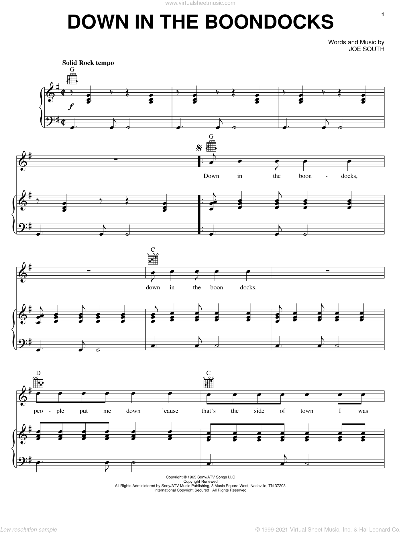 Down In The Boondocks sheet music for voice, piano or guitar by Billy Joe Royal and Joe South, intermediate skill level