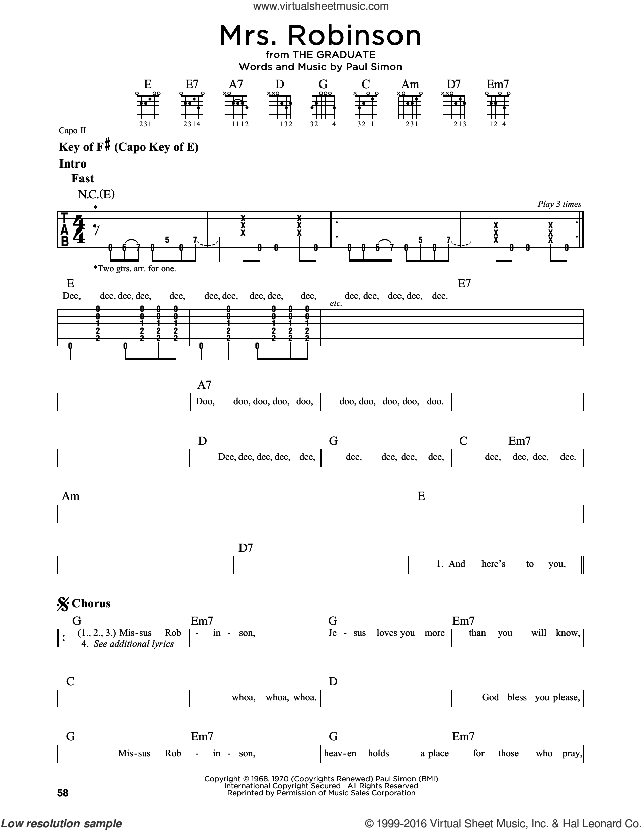 Mrs. Robinson sheet music for guitar solo (lead sheet) by Simon & Garfunkel and Paul Simon. Score Image Preview.