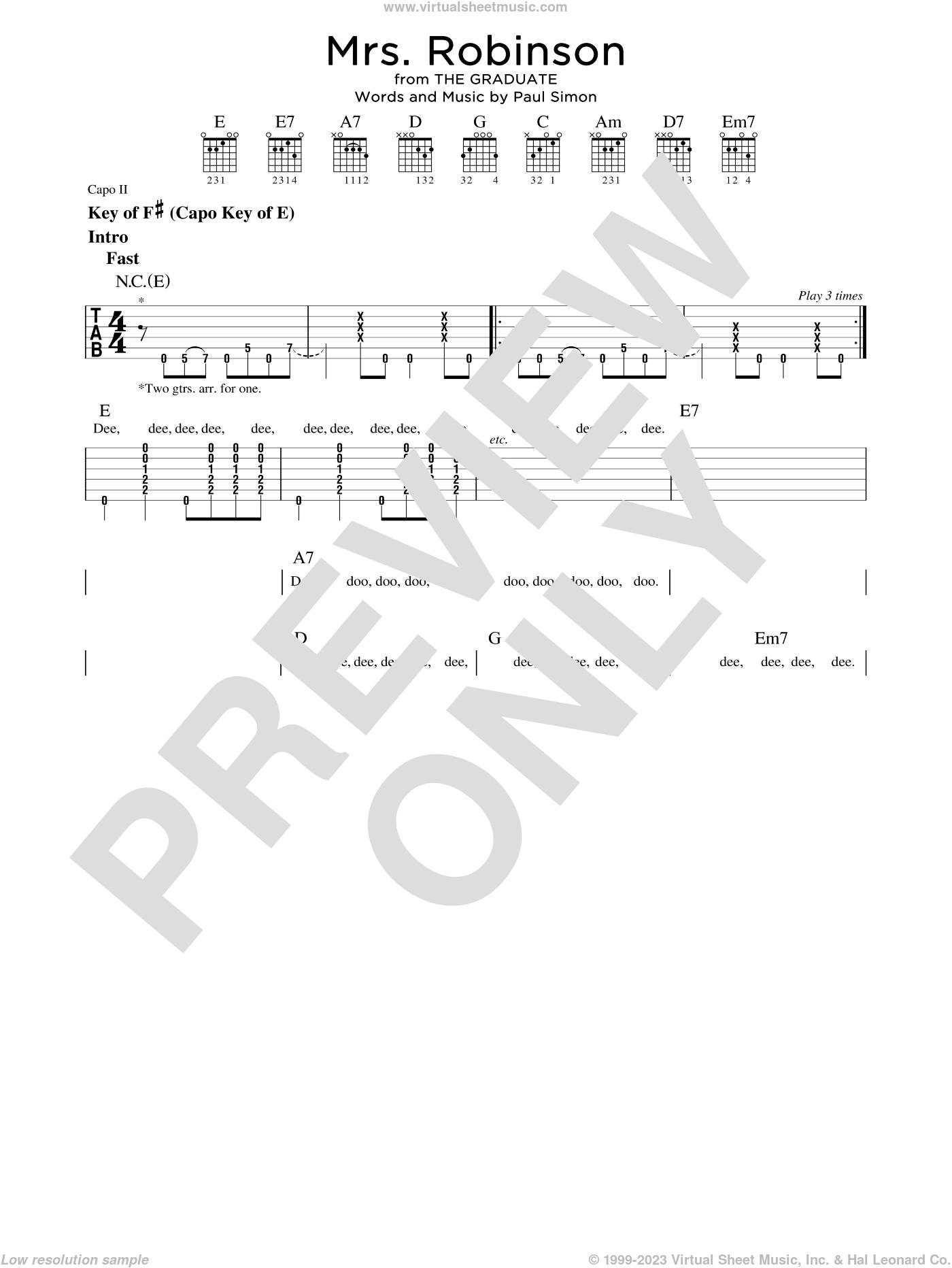 Mrs. Robinson sheet music for guitar solo (lead sheet) by Simon & Garfunkel and Paul Simon, intermediate guitar (lead sheet)