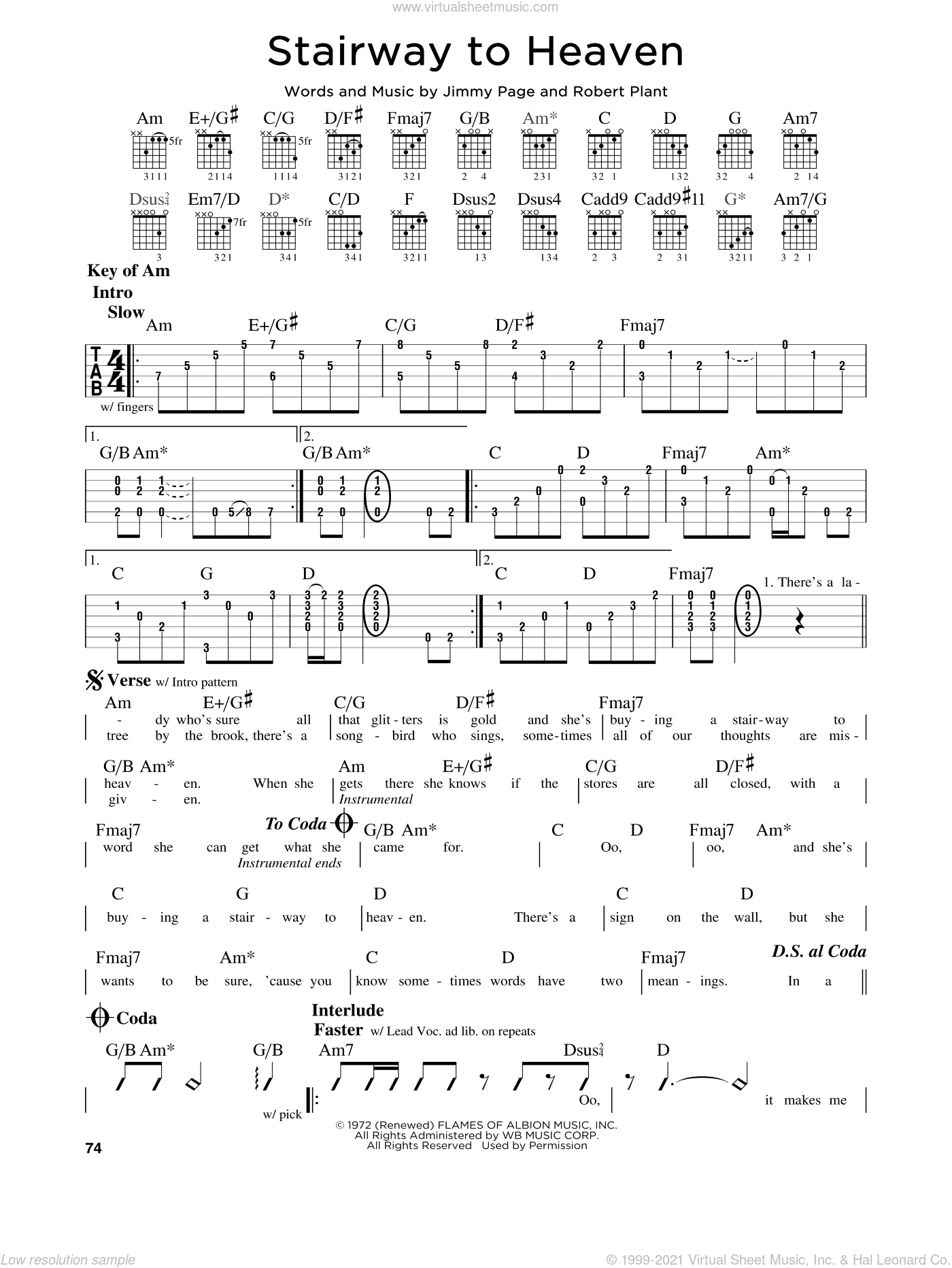 Stairway To Heaven sheet music for guitar solo (lead sheet) by Led Zeppelin, Jimmy Page and Robert Plant, intermediate guitar (lead sheet)