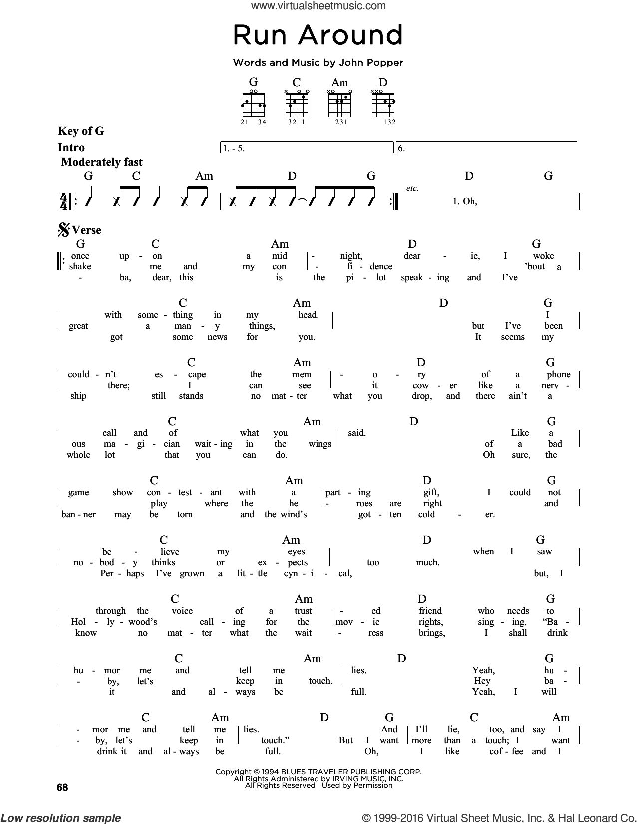 Run Around sheet music for guitar solo (lead sheet) by John Popper and Blues Traveler. Score Image Preview.