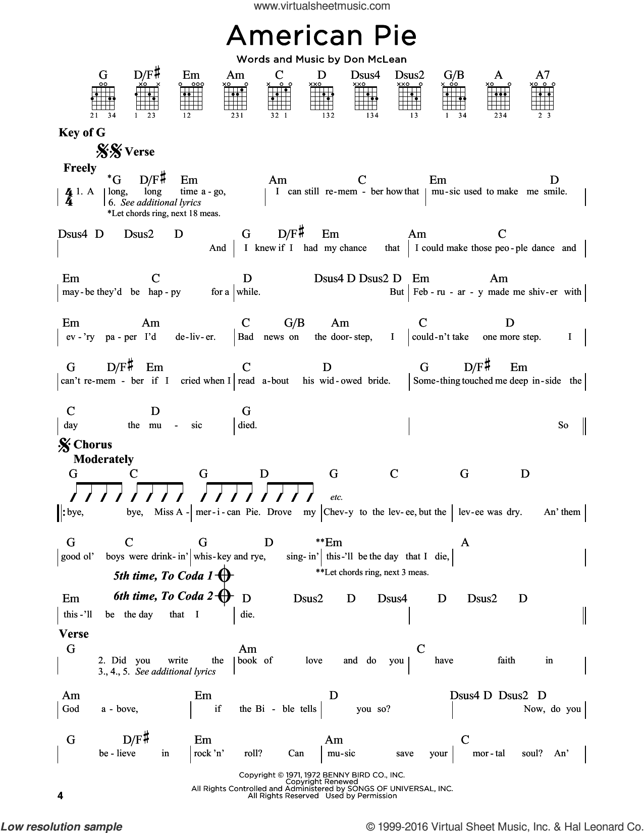 American Pie sheet music for guitar solo (lead sheet) by Don McLean, intermediate guitar (lead sheet). Score Image Preview.