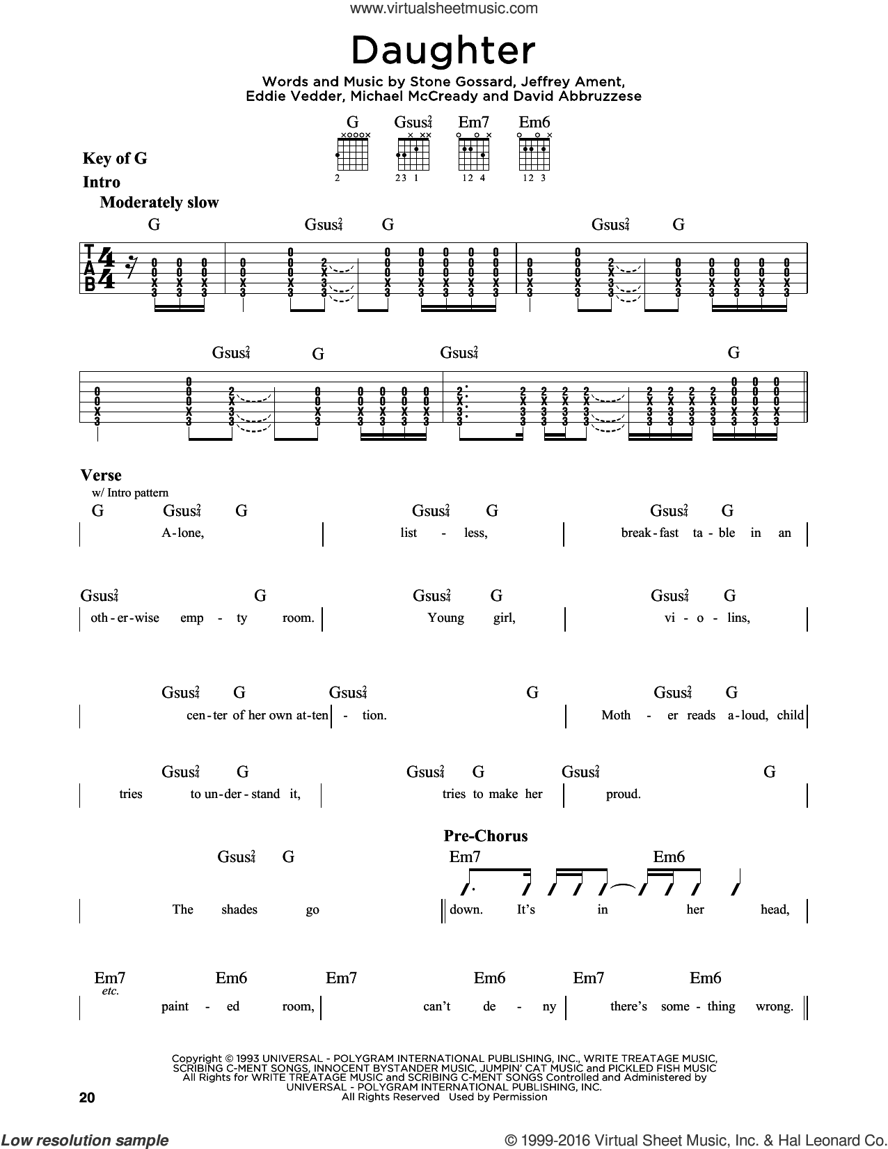Daughter sheet music for guitar solo (lead sheet) by Pearl Jam and Eddie Vedder, intermediate guitar (lead sheet). Score Image Preview.