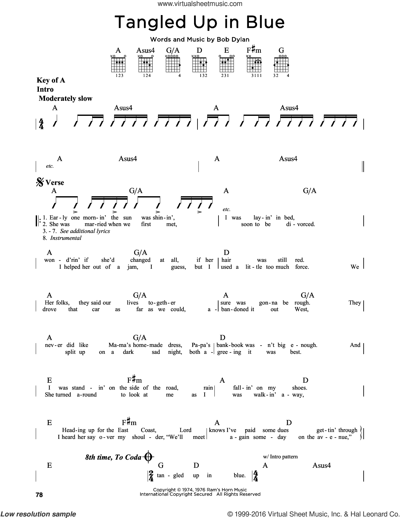 Tangled Up In Blue sheet music for guitar solo (lead sheet) by Bob Dylan, intermediate guitar (lead sheet)
