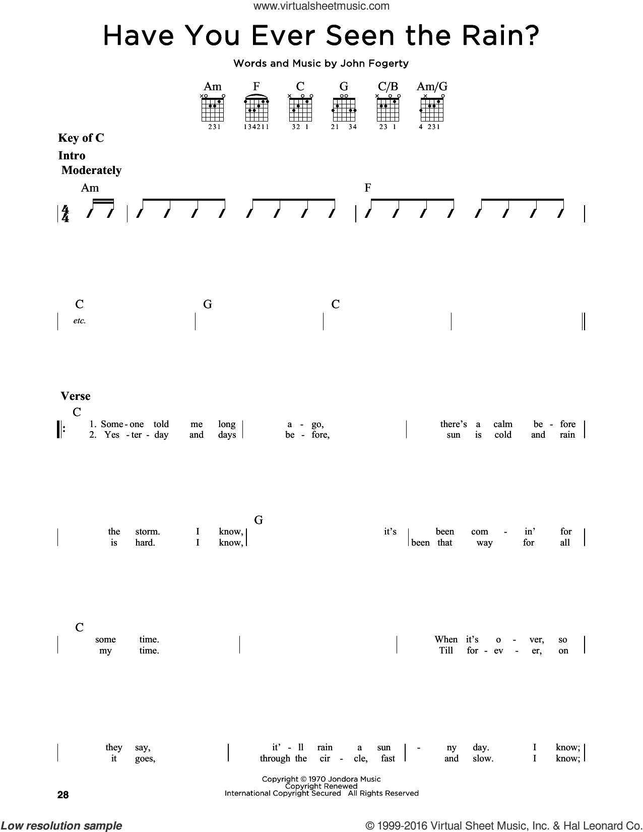 Have You Ever Seen The Rain? sheet music for guitar solo (lead sheet) by Creedence Clearwater Revival, intermediate guitar (lead sheet). Score Image Preview.