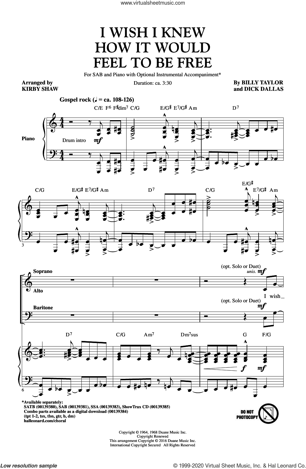 I Wish I Knew How It Would Feel To Be Free sheet music for choir (SAB: soprano, alto, bass) by Billy Taylor, Kirby Shaw and Dick Dallas, intermediate skill level