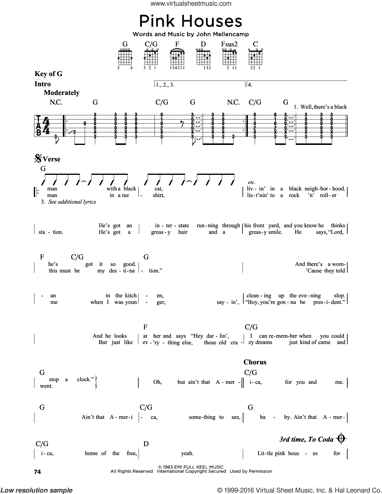 Pink Houses sheet music for guitar solo (lead sheet) by John Mellencamp. Score Image Preview.