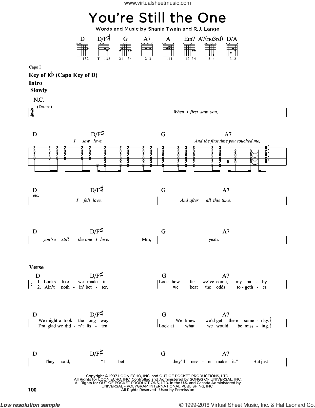 You're Still The One sheet music for guitar solo (lead sheet) by Shania Twain and Robert John Lange. Score Image Preview.