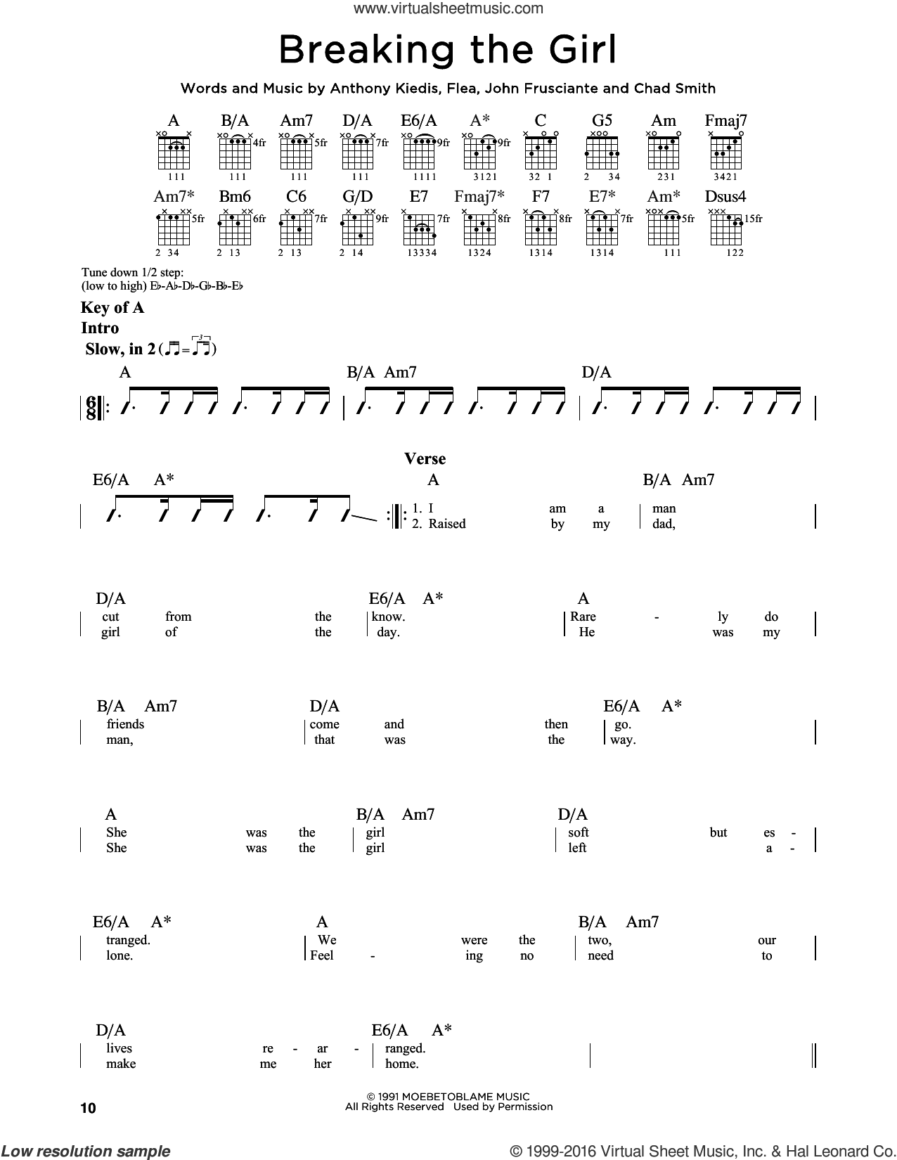 Breaking The Girl sheet music for guitar solo (lead sheet) by Red Hot Chili Peppers, Anthony Kiedis, Chad Smith, Flea and John Frusciante, intermediate guitar (lead sheet)
