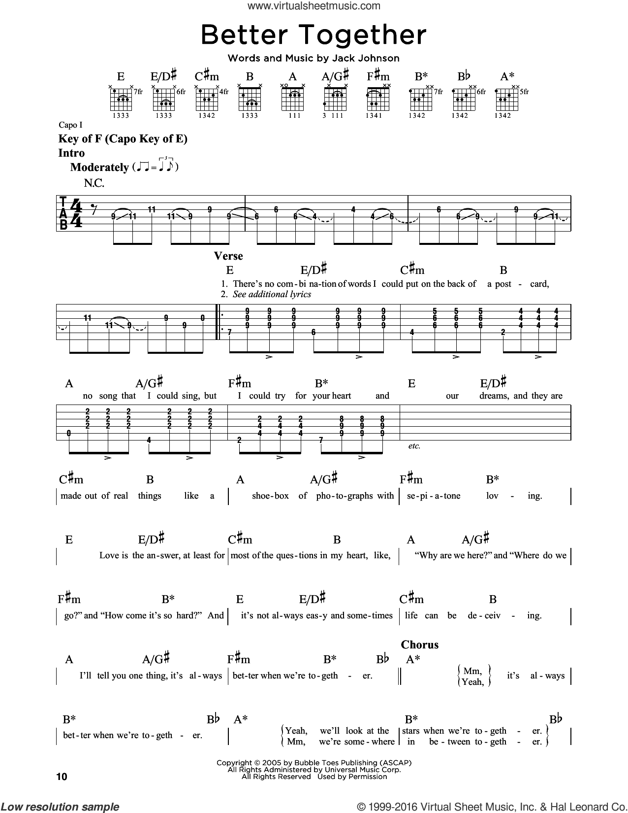 Better Together sheet music for guitar solo (lead sheet) by Jack Johnson. Score Image Preview.