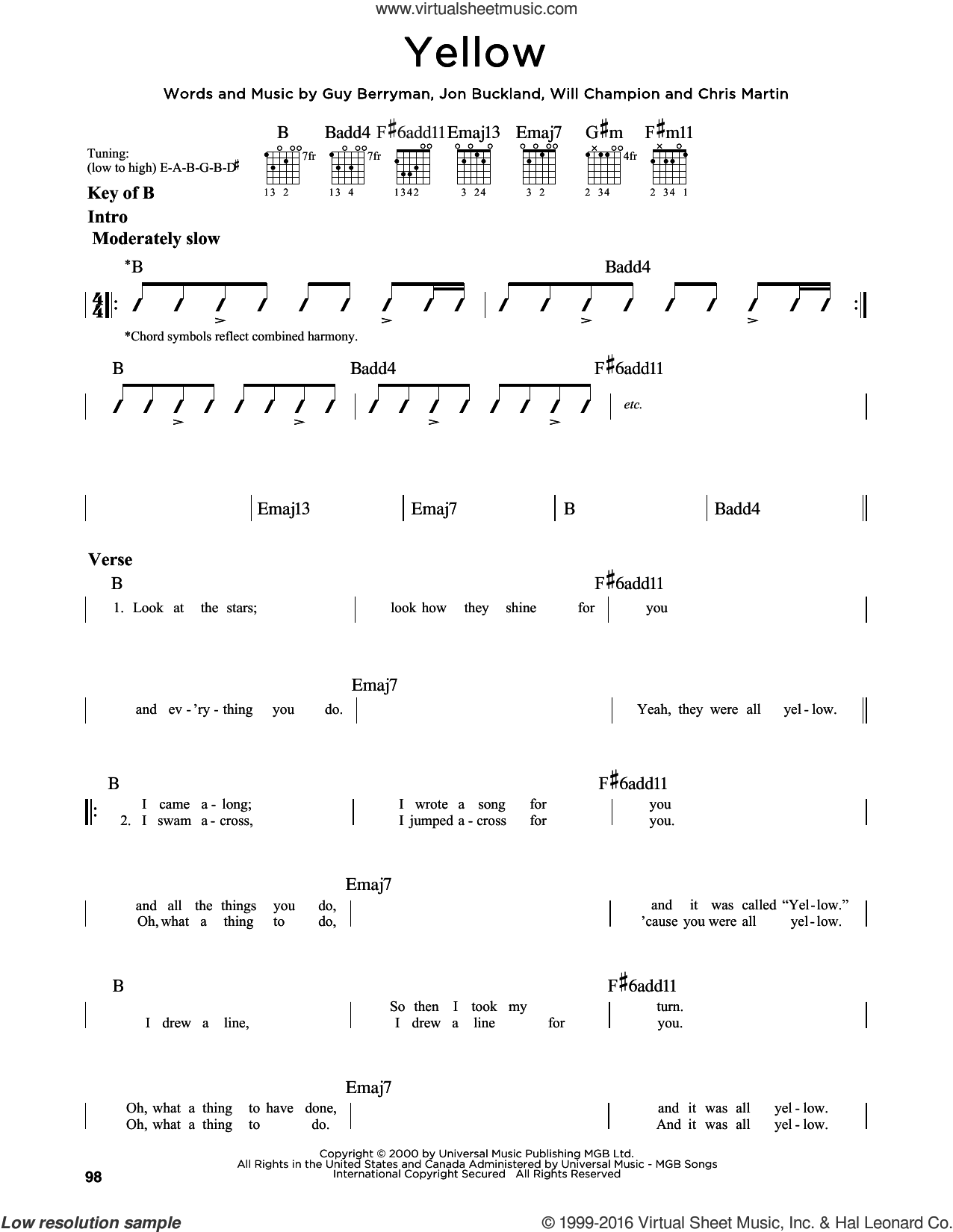 Yellow sheet music for guitar solo (lead sheet) by Chris Martin, Coldplay, Guy Berryman, Jon Buckland and Will Champion, intermediate guitar (lead sheet)