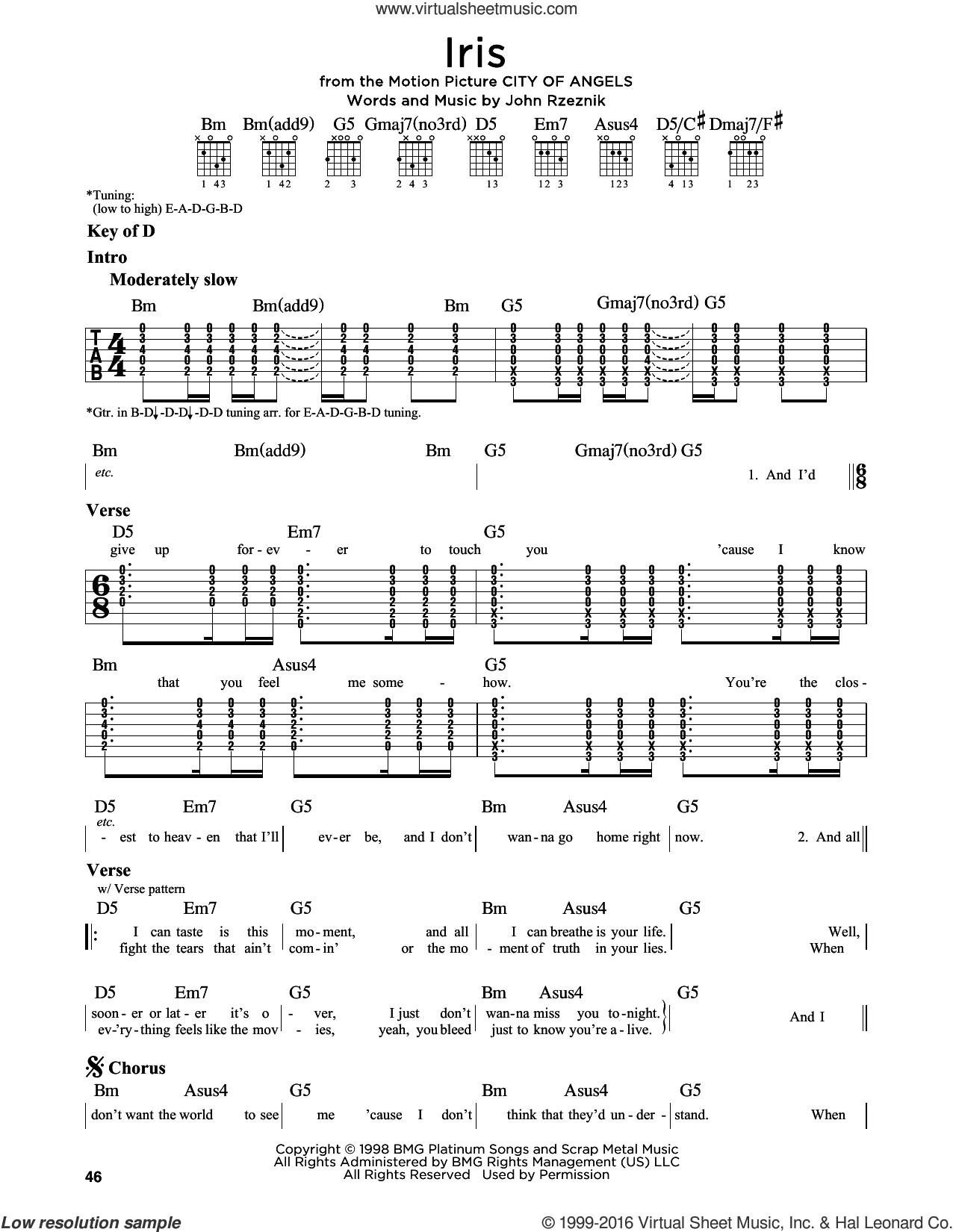 Iris sheet music for guitar solo (lead sheet) by Goo Goo Dolls and John Rzeznik, intermediate guitar (lead sheet). Score Image Preview.