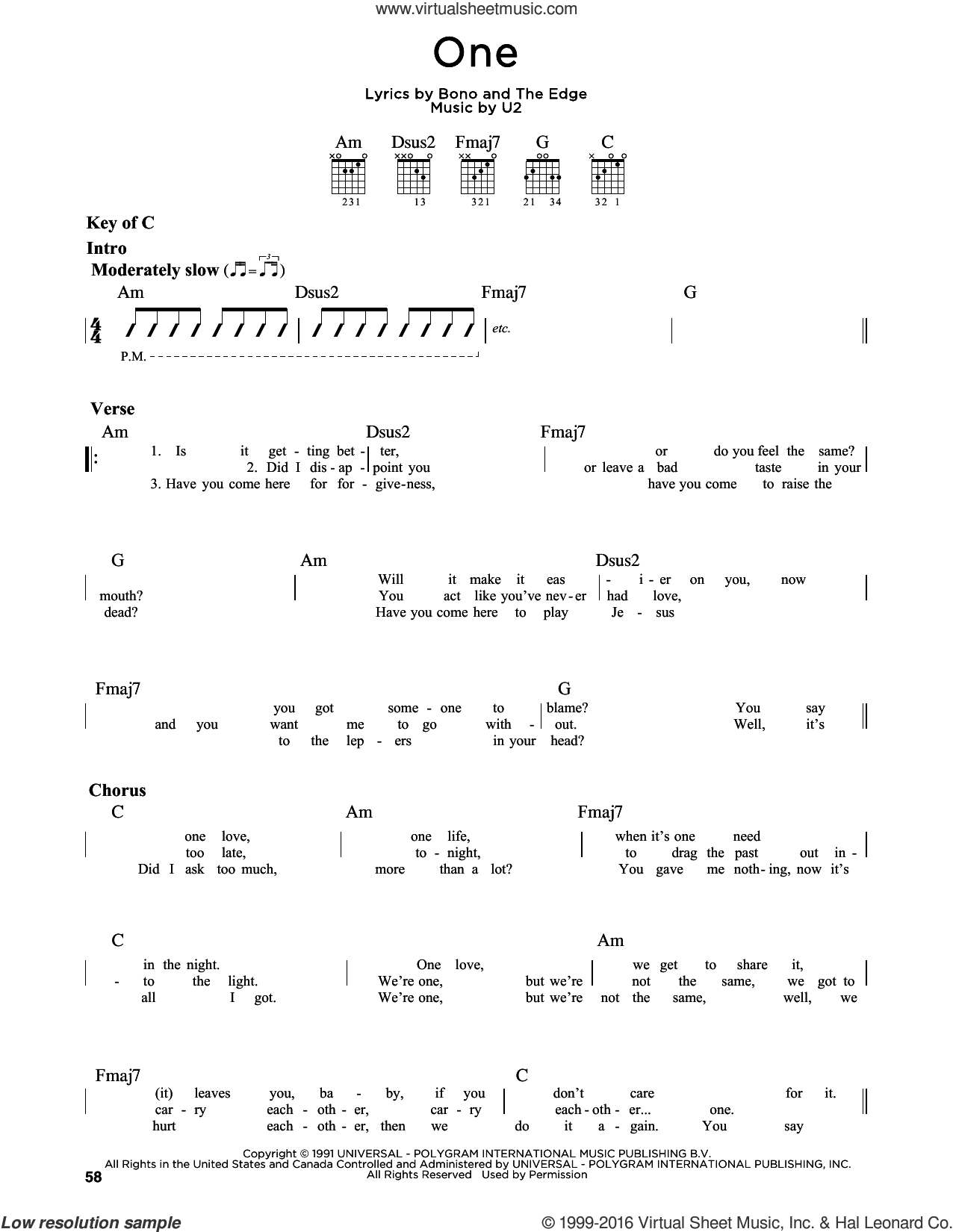One sheet music for guitar solo (lead sheet) by The Edge