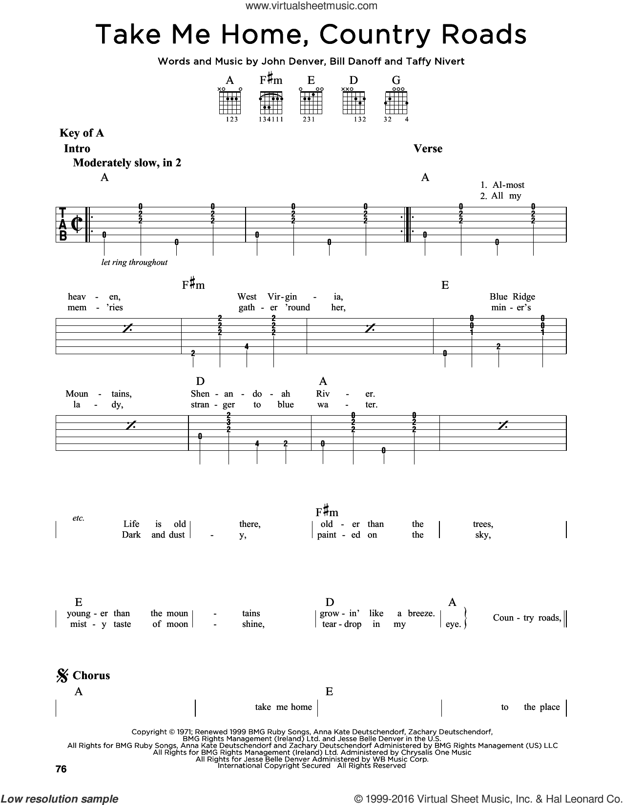 Take Me Home, Country Roads sheet music for guitar solo (lead sheet) by Taffy Nivert, Bill Danoff and John Denver. Score Image Preview.