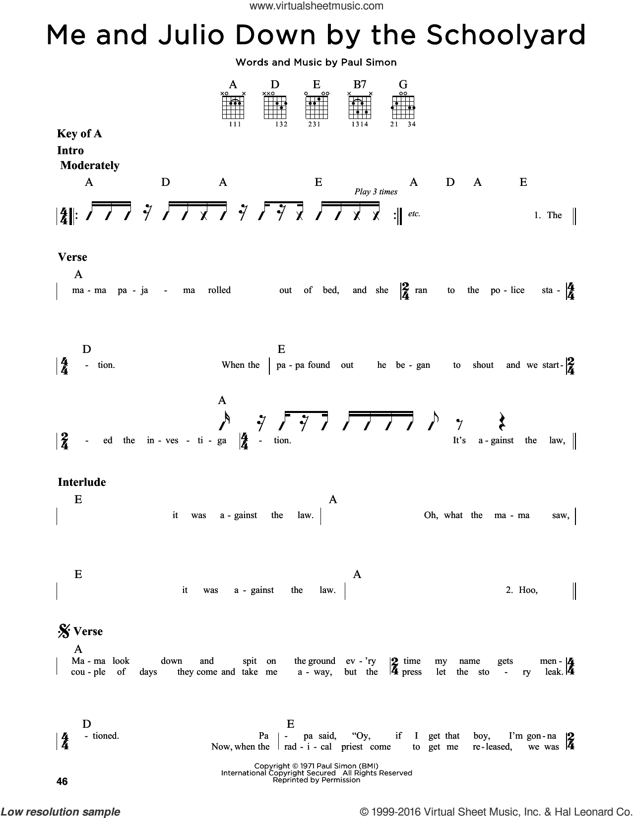Me and Julio Down By The Schoolyard sheet music for guitar solo (lead sheet) by Simon & Garfunkel and Paul Simon, intermediate guitar (lead sheet). Score Image Preview.