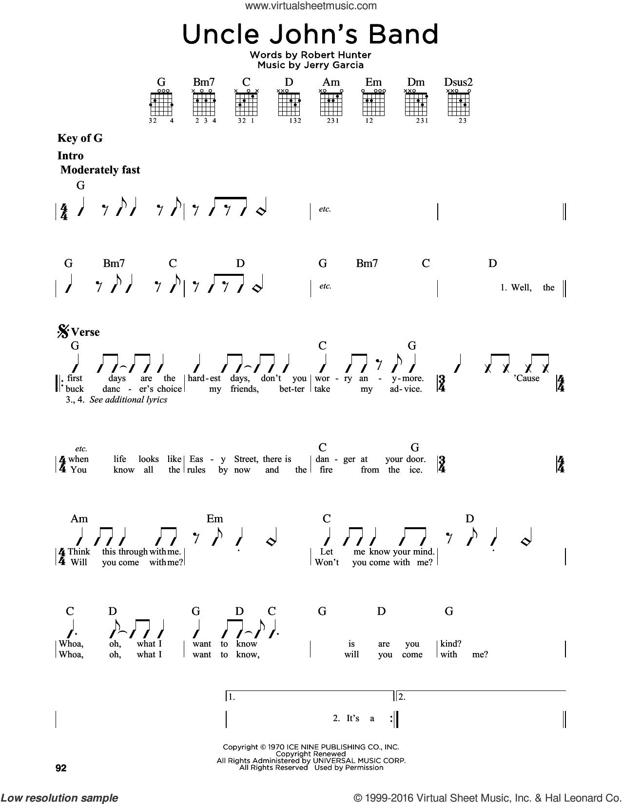 Uncle John's Band sheet music for guitar solo (lead sheet) by Grateful Dead, Jerry Garcia and Robert Hunter, intermediate guitar (lead sheet)