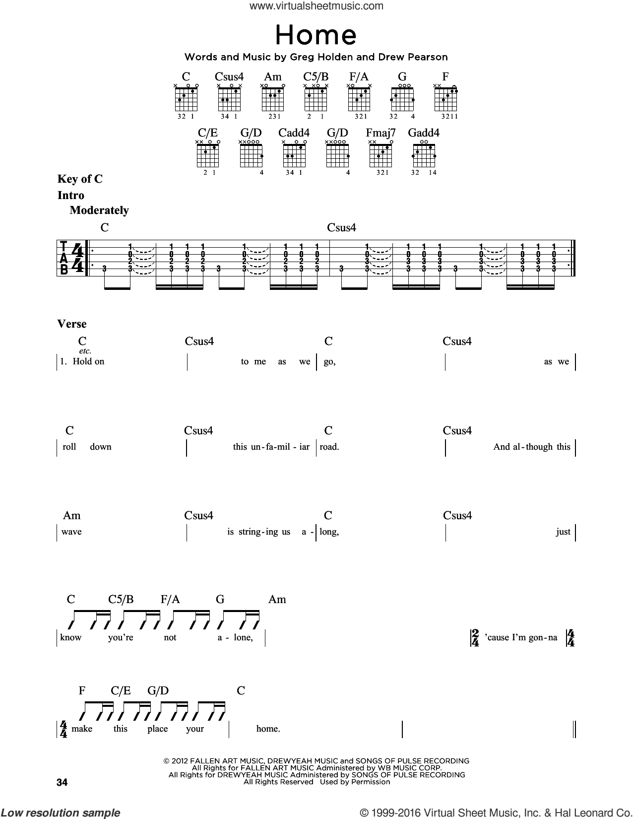 Home sheet music for guitar solo (lead sheet) by Greg Holden, Phillip Phillips and Drew Pearson. Score Image Preview.
