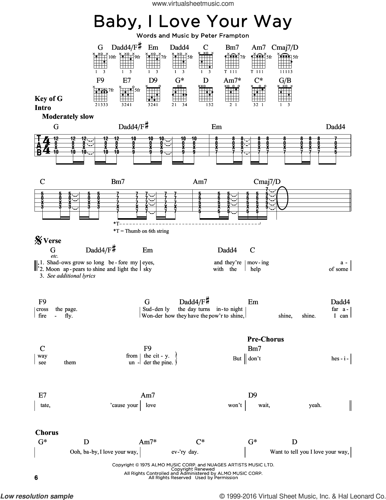 Baby, I Love Your Way sheet music for guitar solo (lead sheet) by Peter Frampton, intermediate guitar (lead sheet)