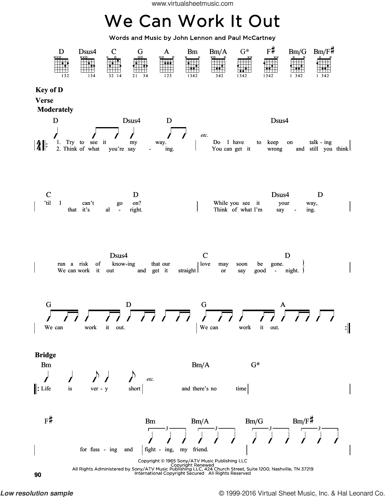 We Can Work It Out sheet music for guitar solo (lead sheet) by The Beatles, John Lennon and Paul McCartney, intermediate guitar (lead sheet). Score Image Preview.