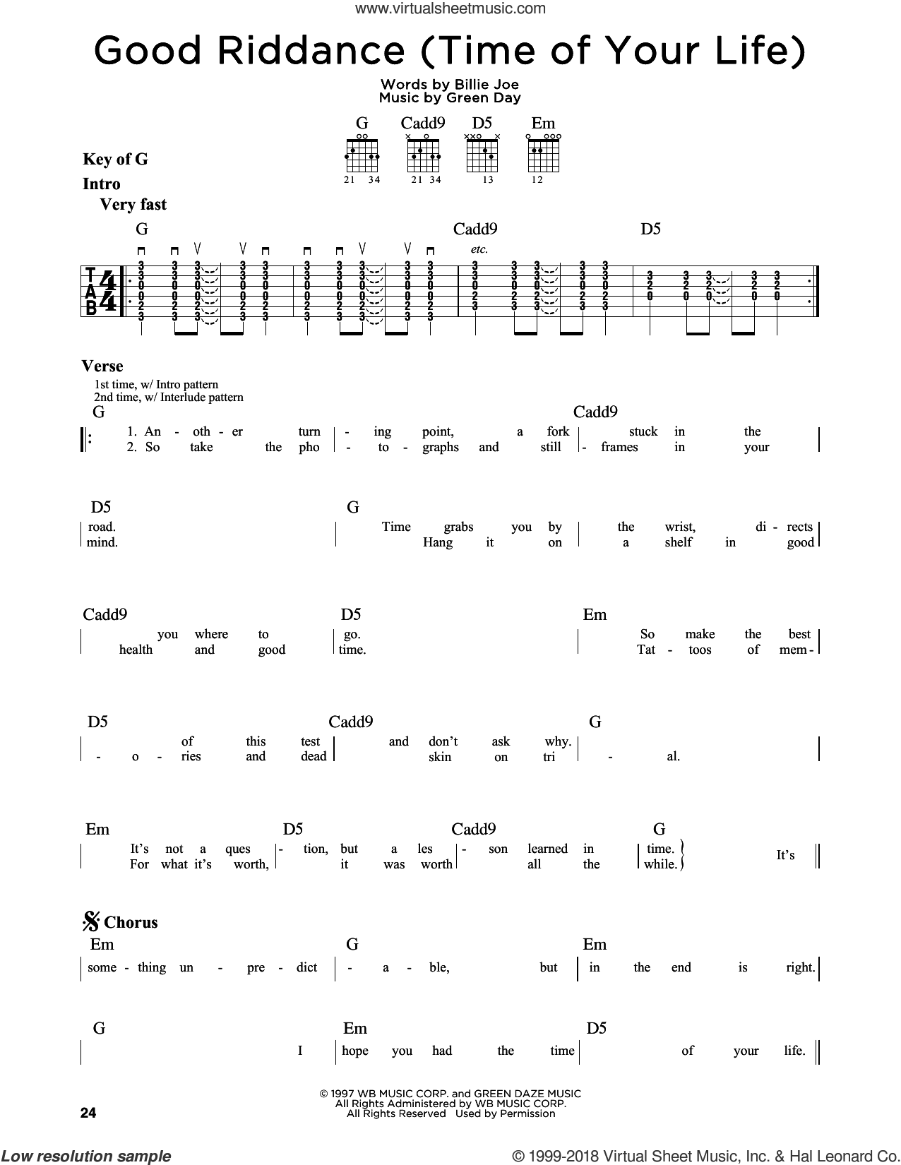 Good Riddance (Time Of Your Life) sheet music for guitar solo (lead sheet) by Green Day and Billie Joe, intermediate guitar (lead sheet)