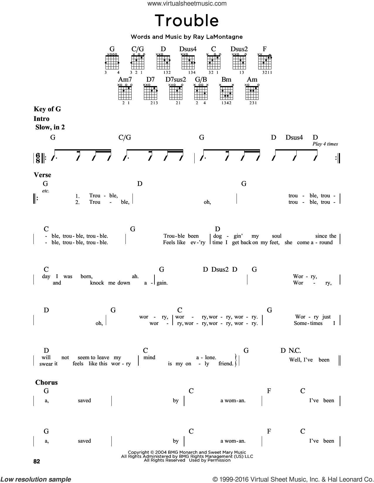 Trouble sheet music for guitar solo (lead sheet) by Ray LaMontagne