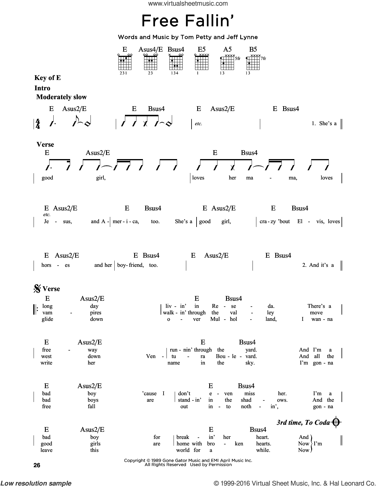 Free Fallin' sheet music for guitar solo (lead sheet) by Tom Petty, John Mayer and Jeff Lynne, intermediate guitar (lead sheet)