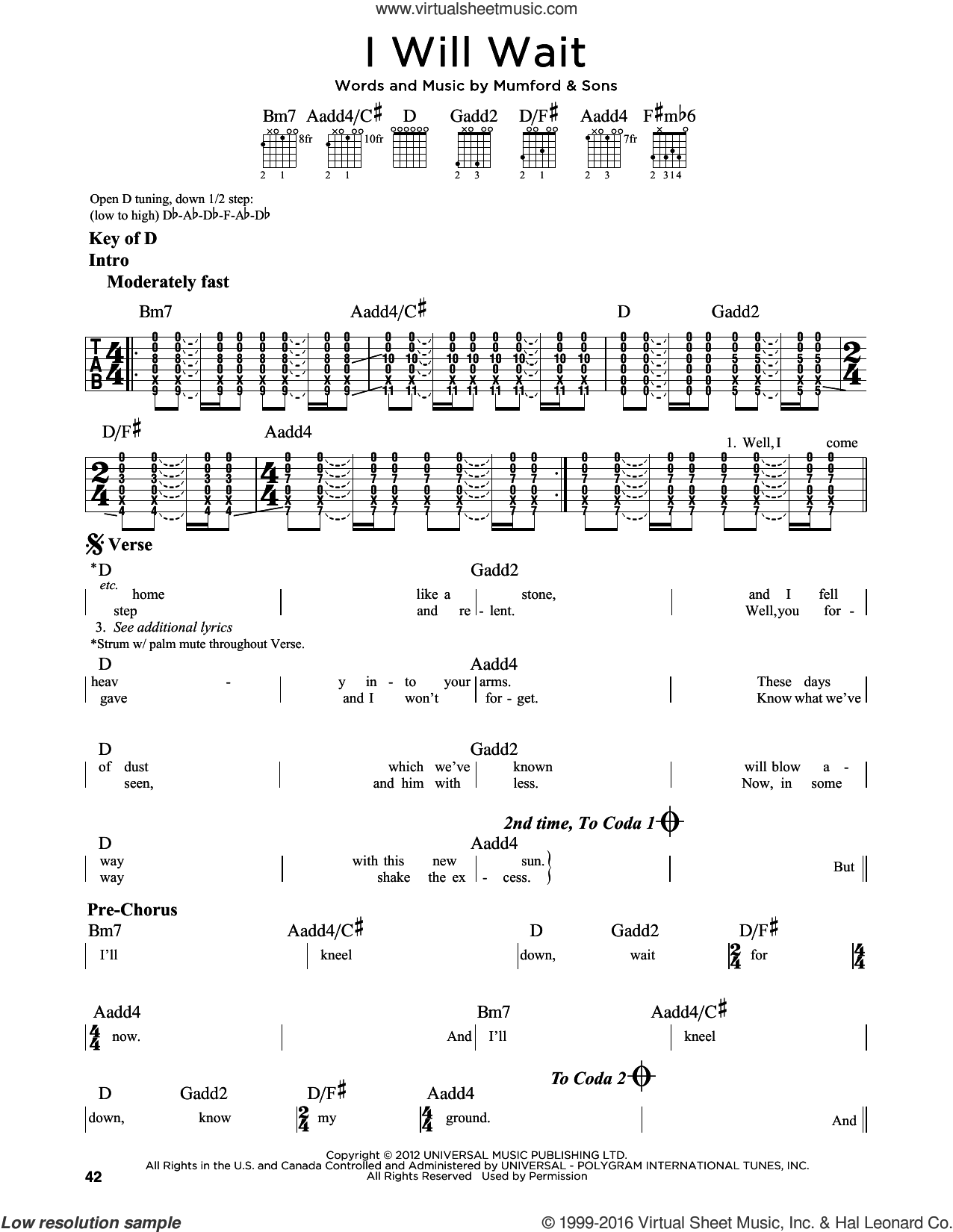 I Will Wait sheet music for guitar solo (lead sheet) by Mumford & Sons. Score Image Preview.