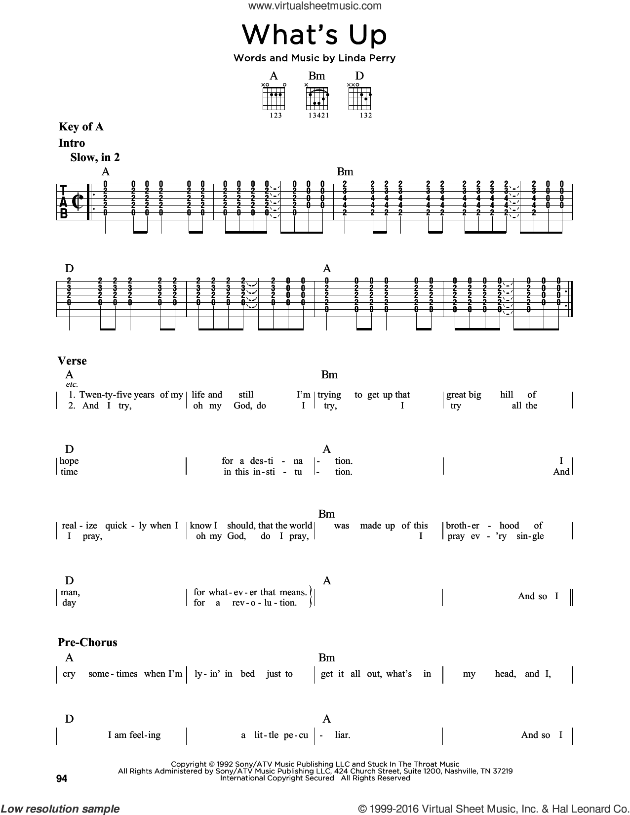 What's Up sheet music for guitar solo (lead sheet) by 4 Non Blondes, D. J. Miko and Linda Perry, intermediate guitar (lead sheet)