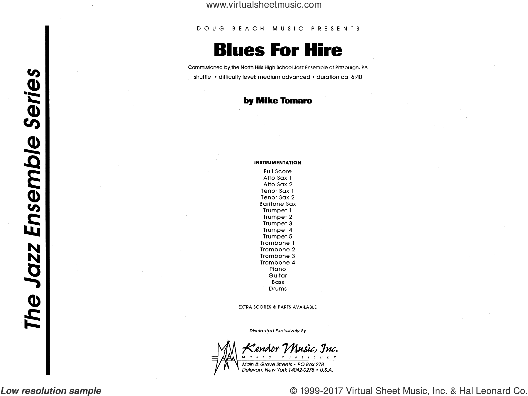 Blues For Hire (COMPLETE) sheet music for jazz band by Mike Tomaro, intermediate